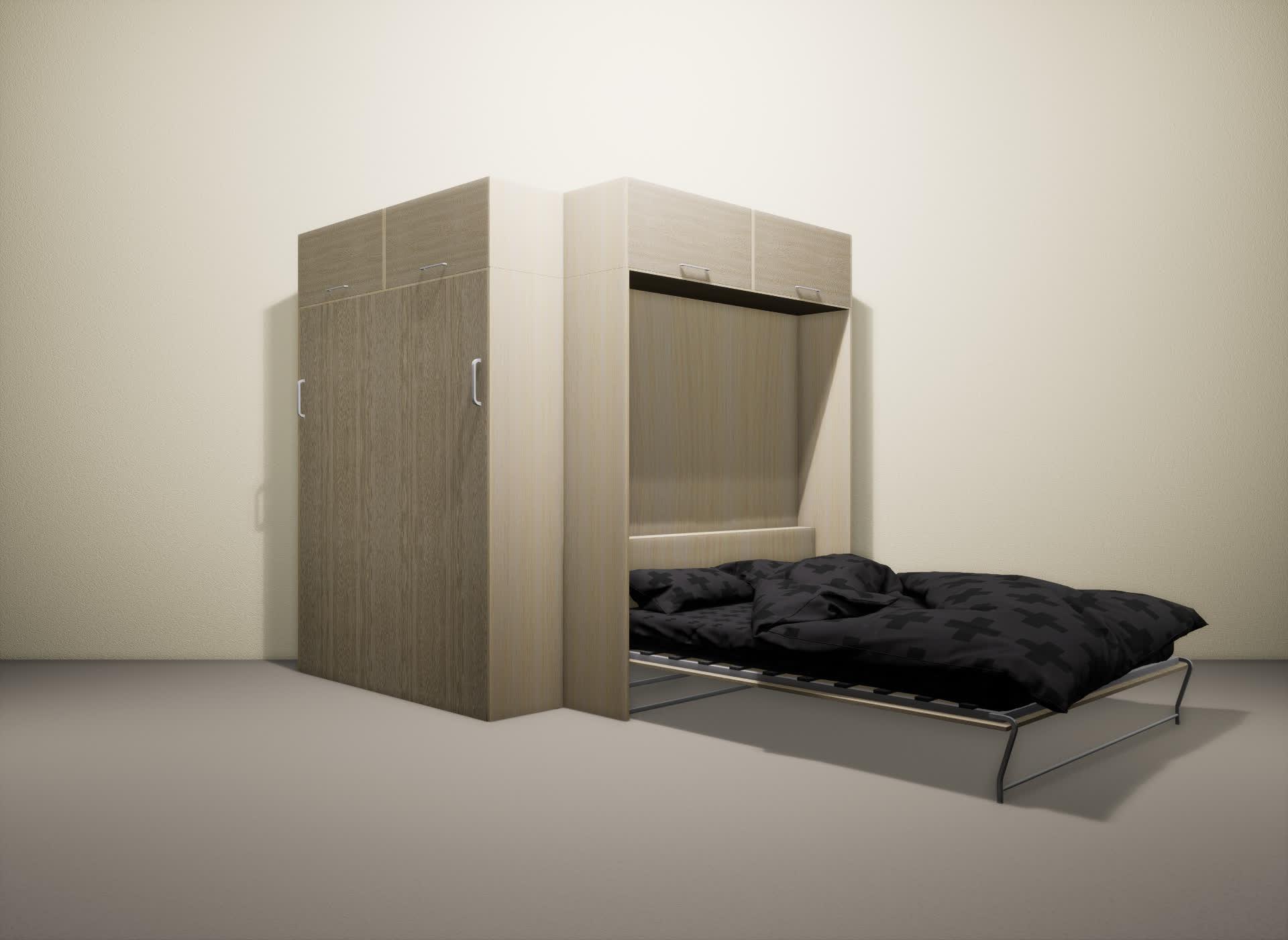 Шкаф-кровать SMART HOME Альфа молочный дуб/ясень
