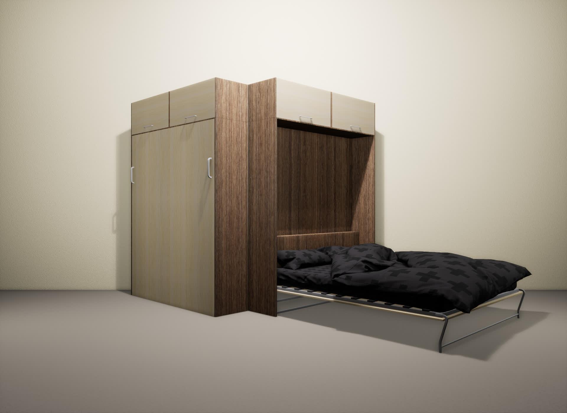 Шкаф-кровать SMART HOME Альфа шамони/молочный дуб