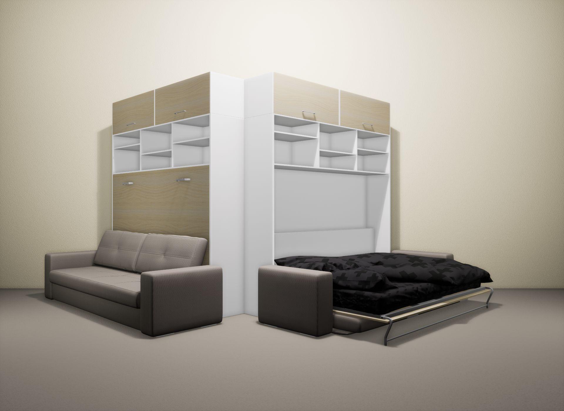 Шкаф-кровать SMART HOME Бетта белый/молочный дуб