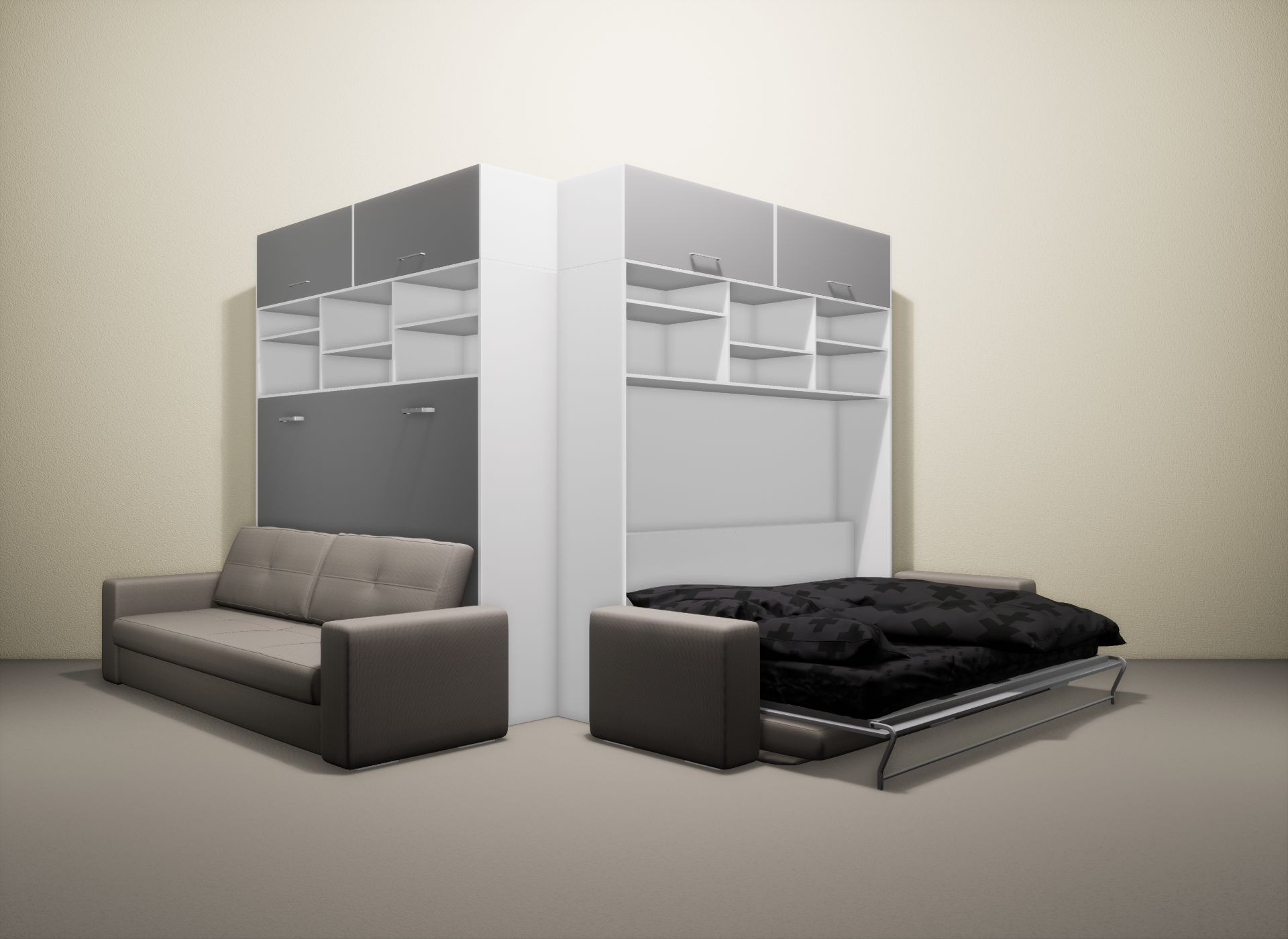 Шкаф-кровать SMART HOME Бетта белый/серый