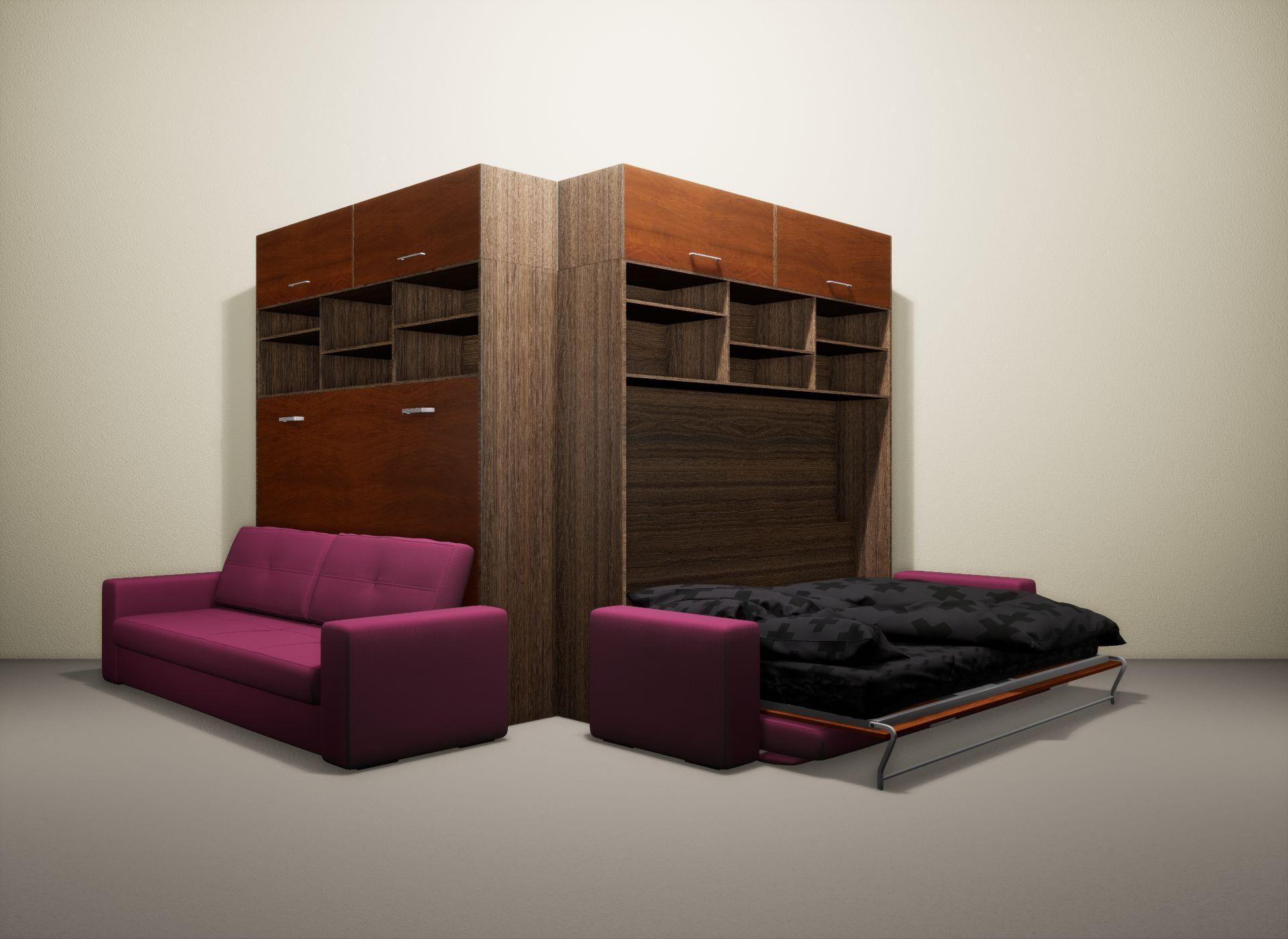 Шкаф-кровать SMART HOME Бетта шамони/яблоня