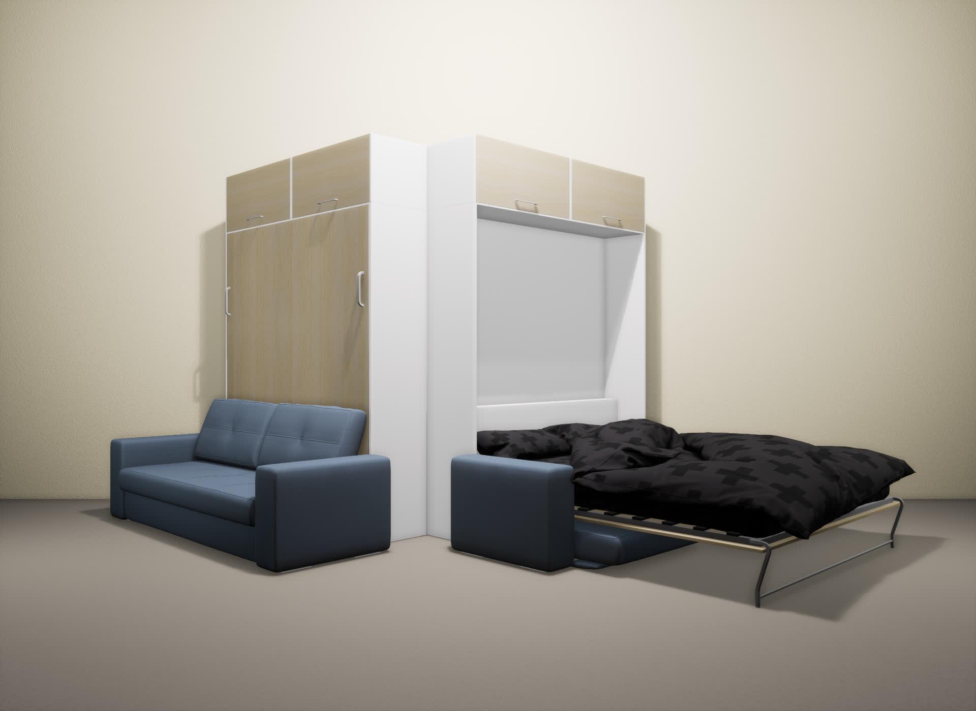 Шкаф-кровать SMART HOME Гамма белый/молочный дуб