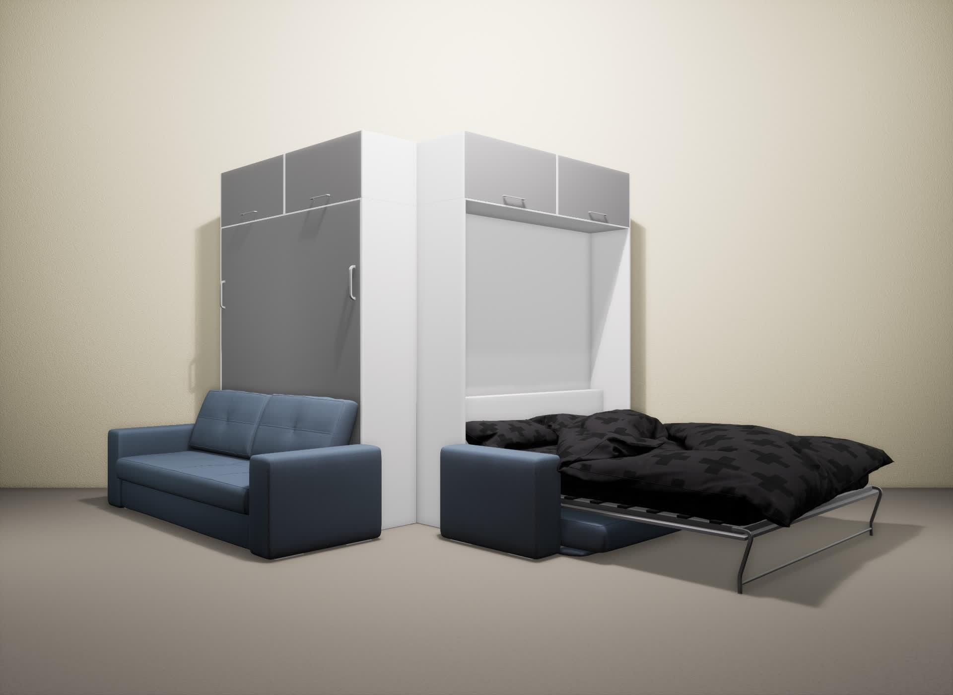 Шкаф-кровать SMART HOME Гамма белый/серый