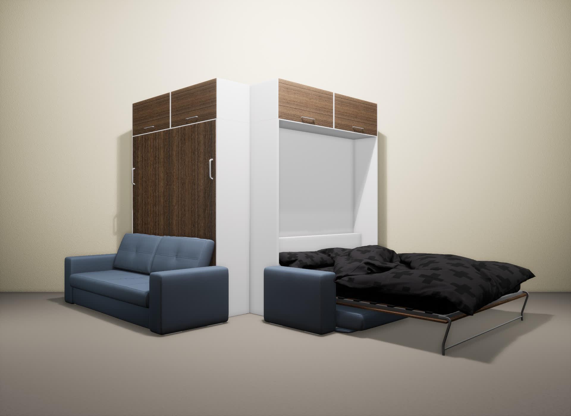Шкаф-кровать SMART HOME Гамма белый/шамони