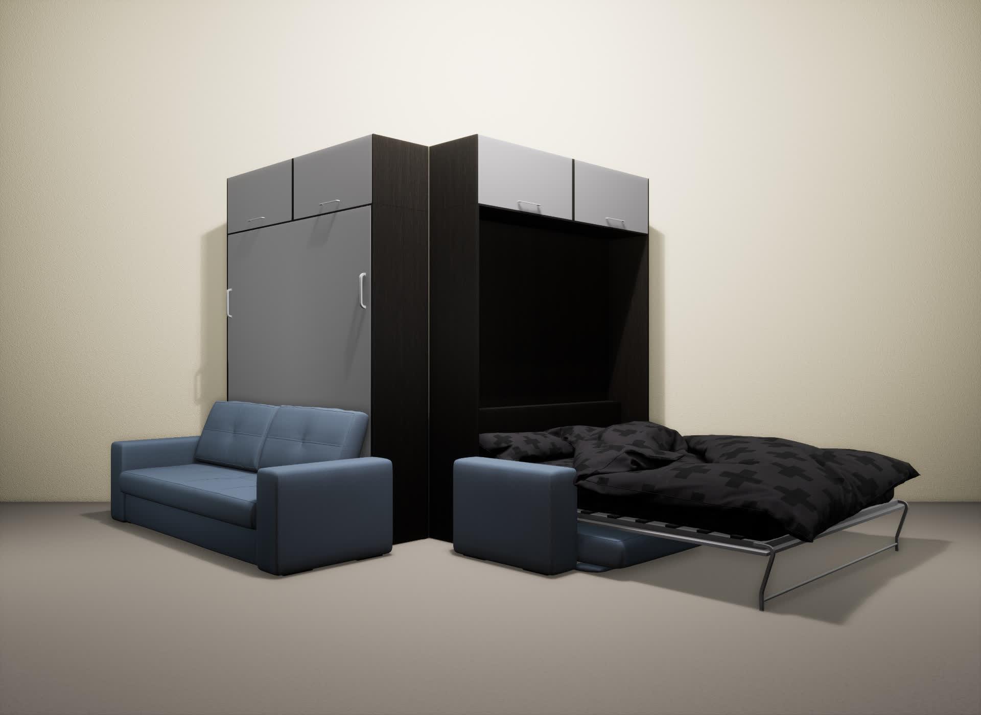 Шкаф-кровать SMART HOME Гамма венге/серый