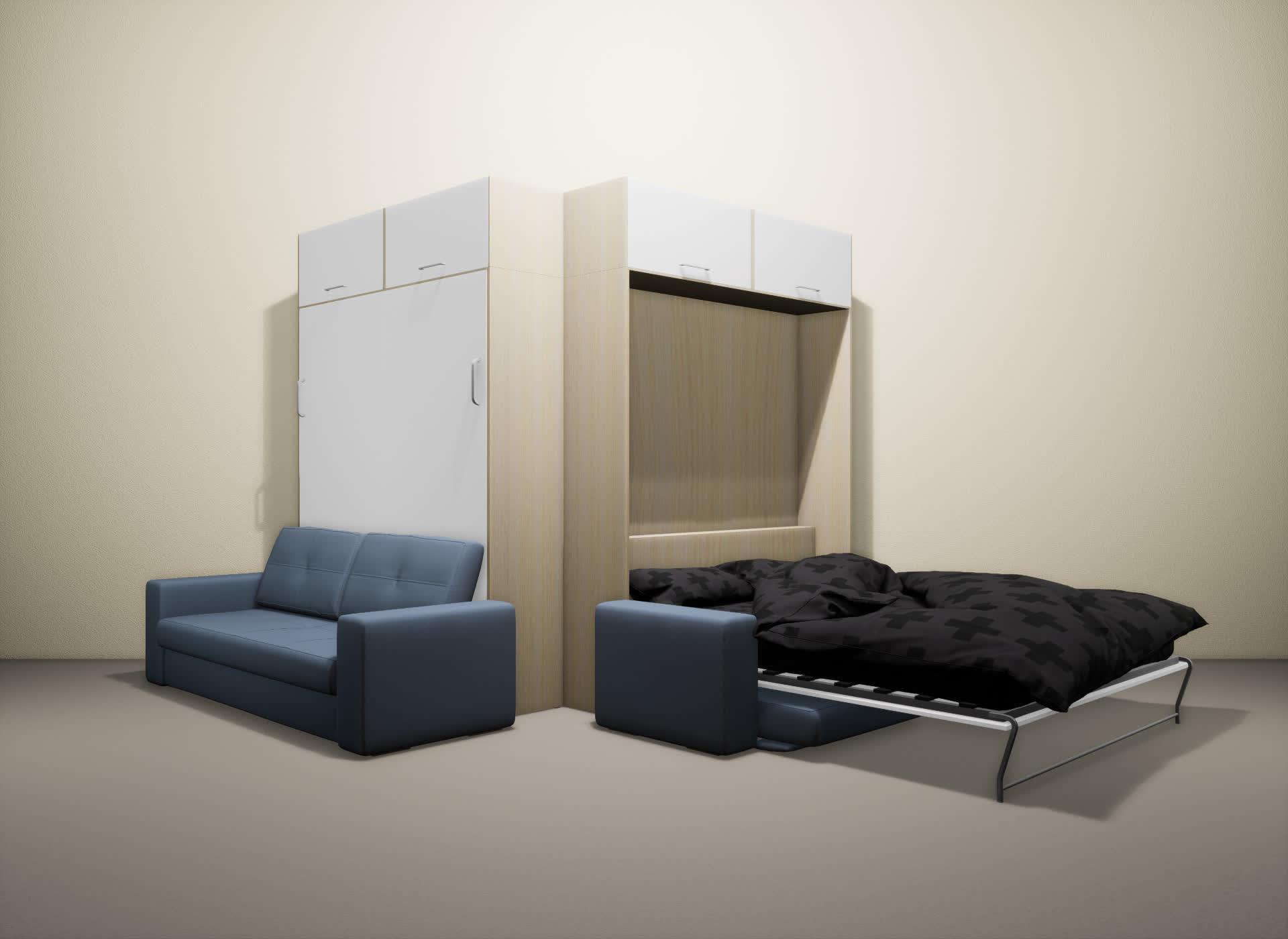Шкаф-кровать SMART HOME Гамма молочный дуб/белый