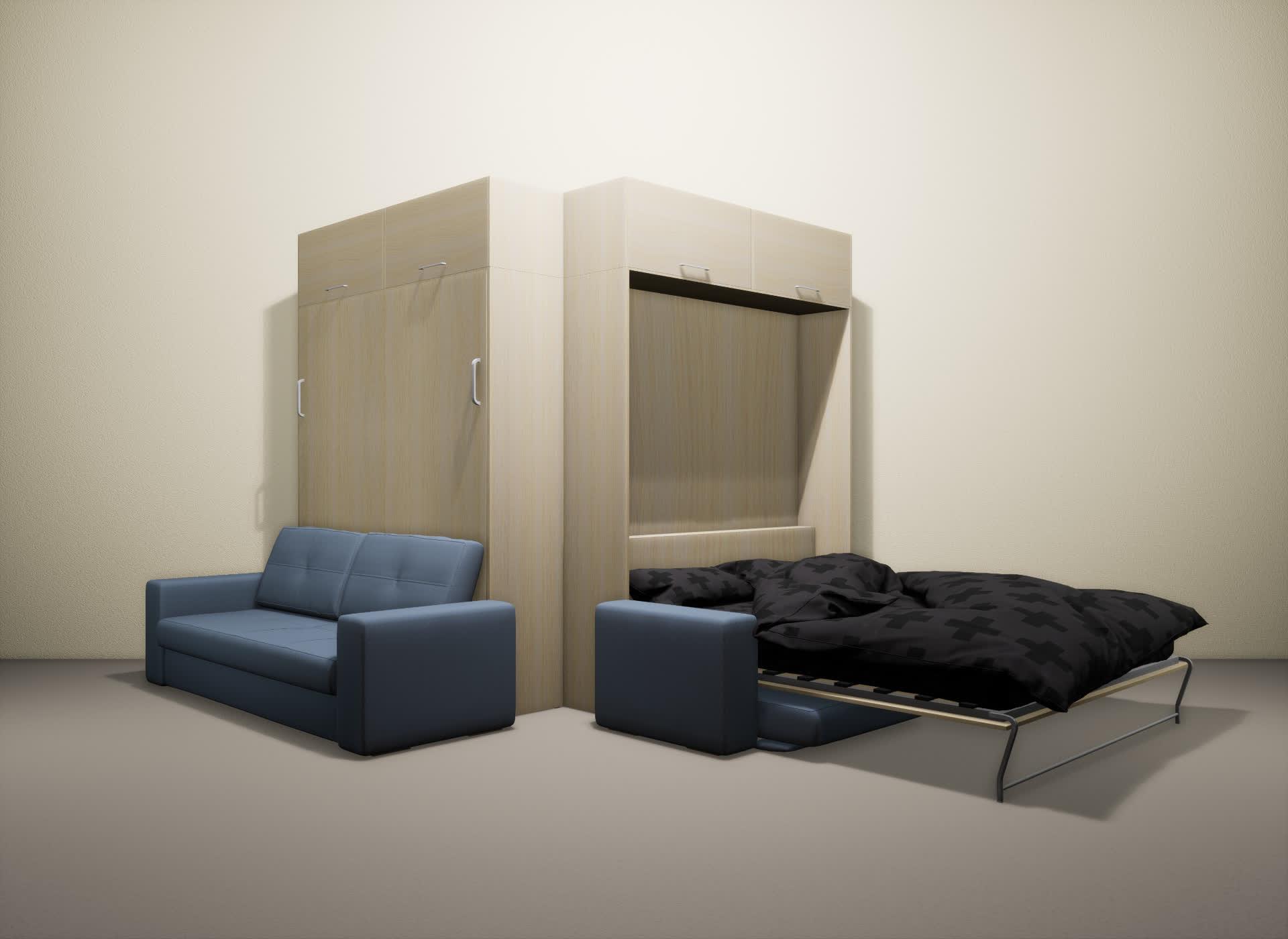 Шкаф-кровать SMART HOME Гамма молочный дуб/молочный дуб