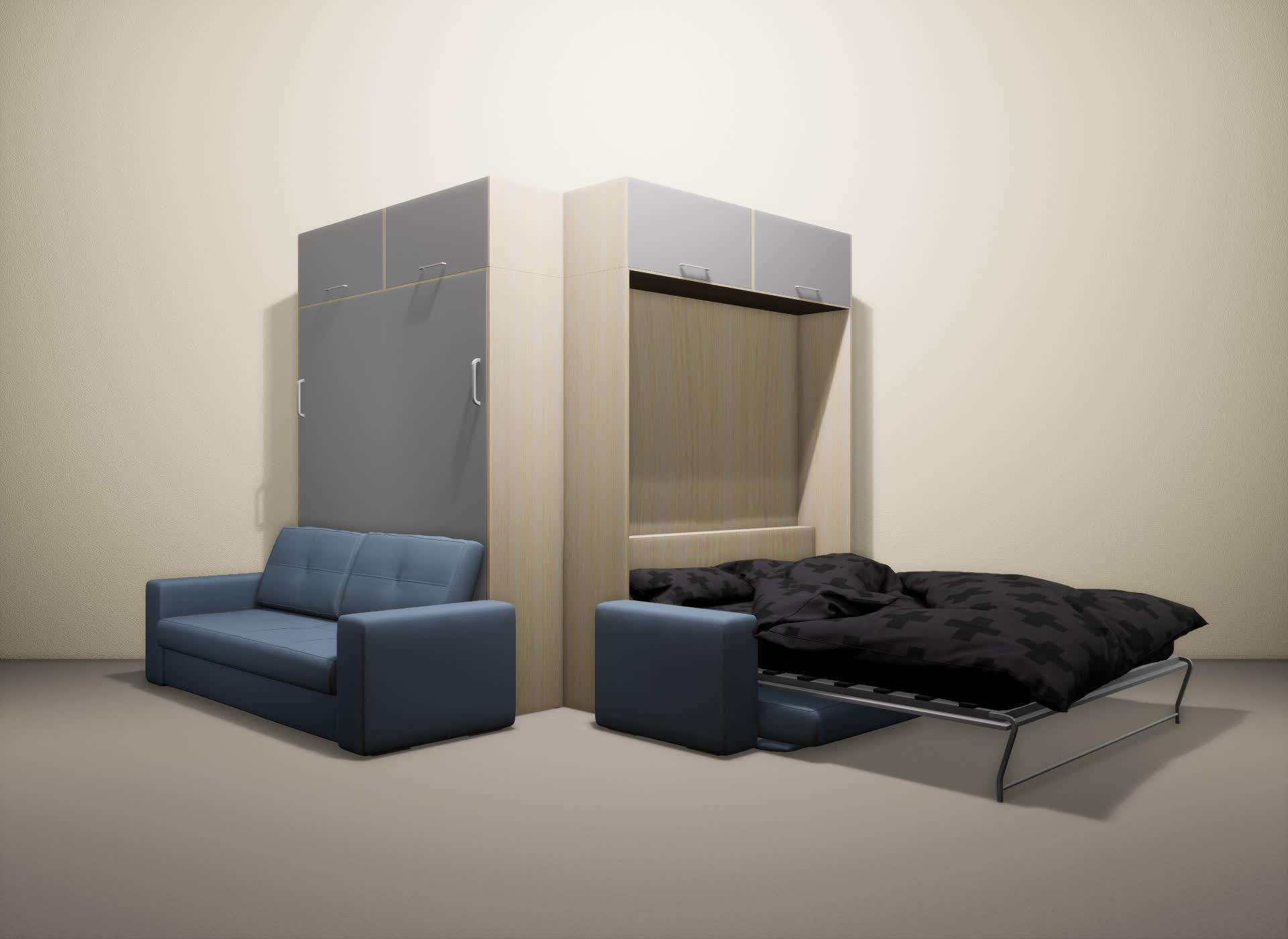 Шкаф-кровать SMART HOME Гамма молочный дуб/серый