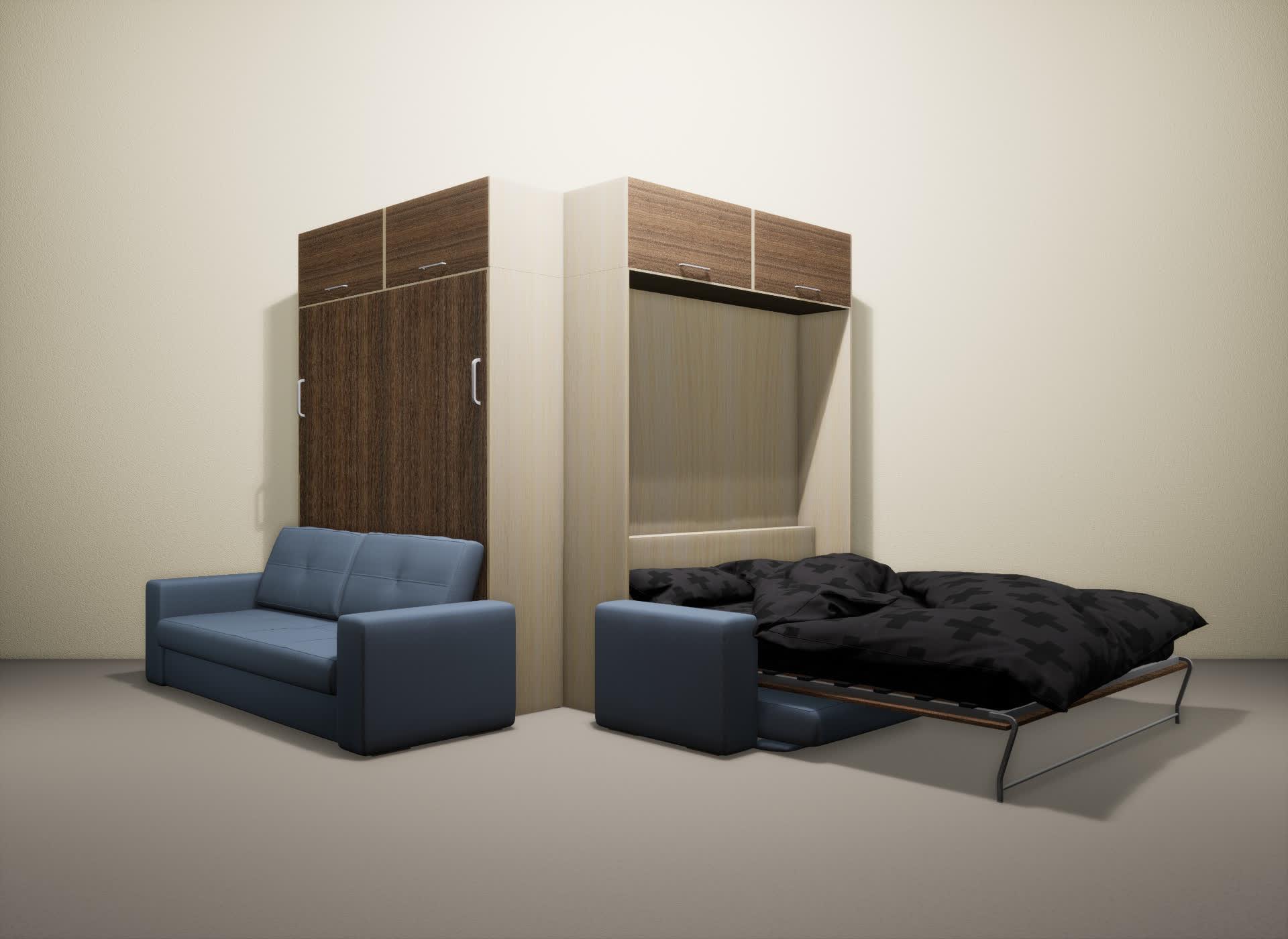 Шкаф-кровать SMART HOME Гамма молочный дуб/шамони