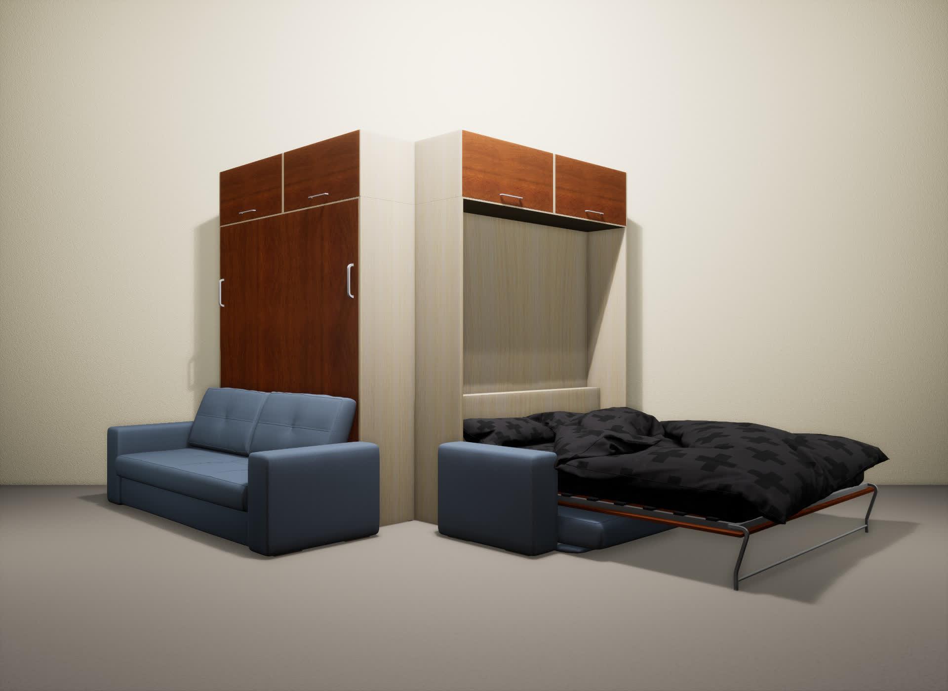 Шкаф-кровать SMART HOME Гамма молочный дуб/яблоня