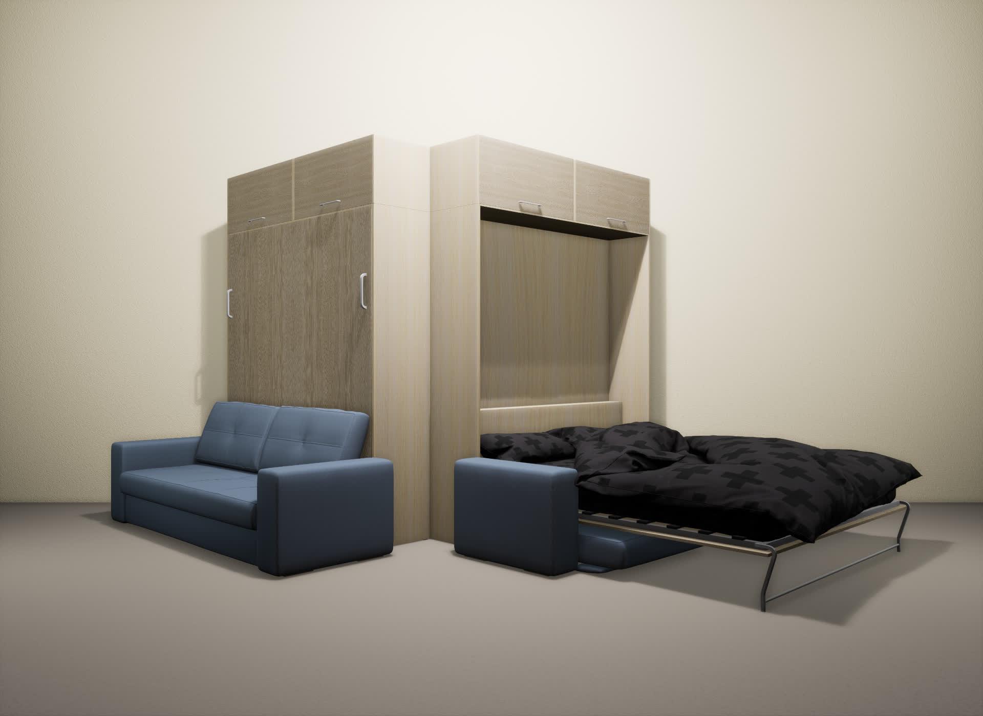 Шкаф-кровать SMART HOME Гамма молочный дуб/ясень