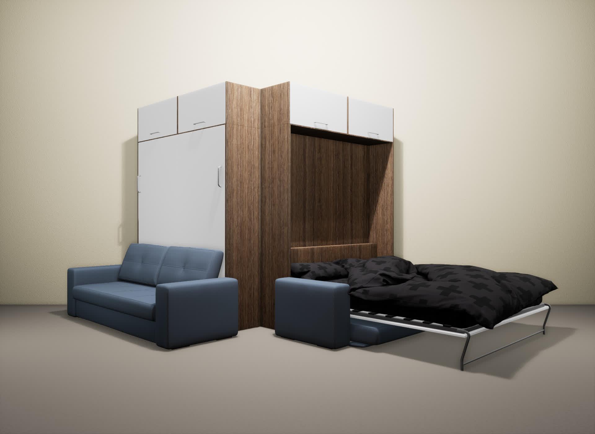 Шкаф-кровать SMART HOME Гамма шамони/белый