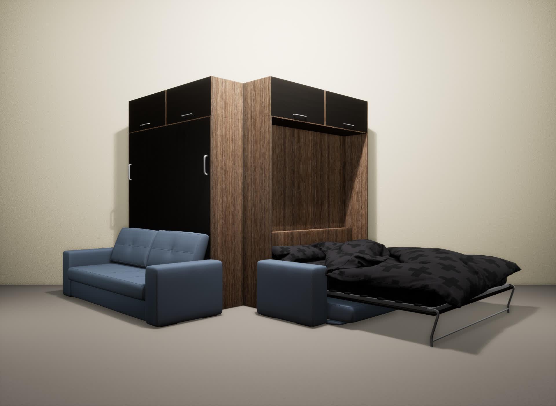 Шкаф-кровать SMART HOME Гамма шамони/венге