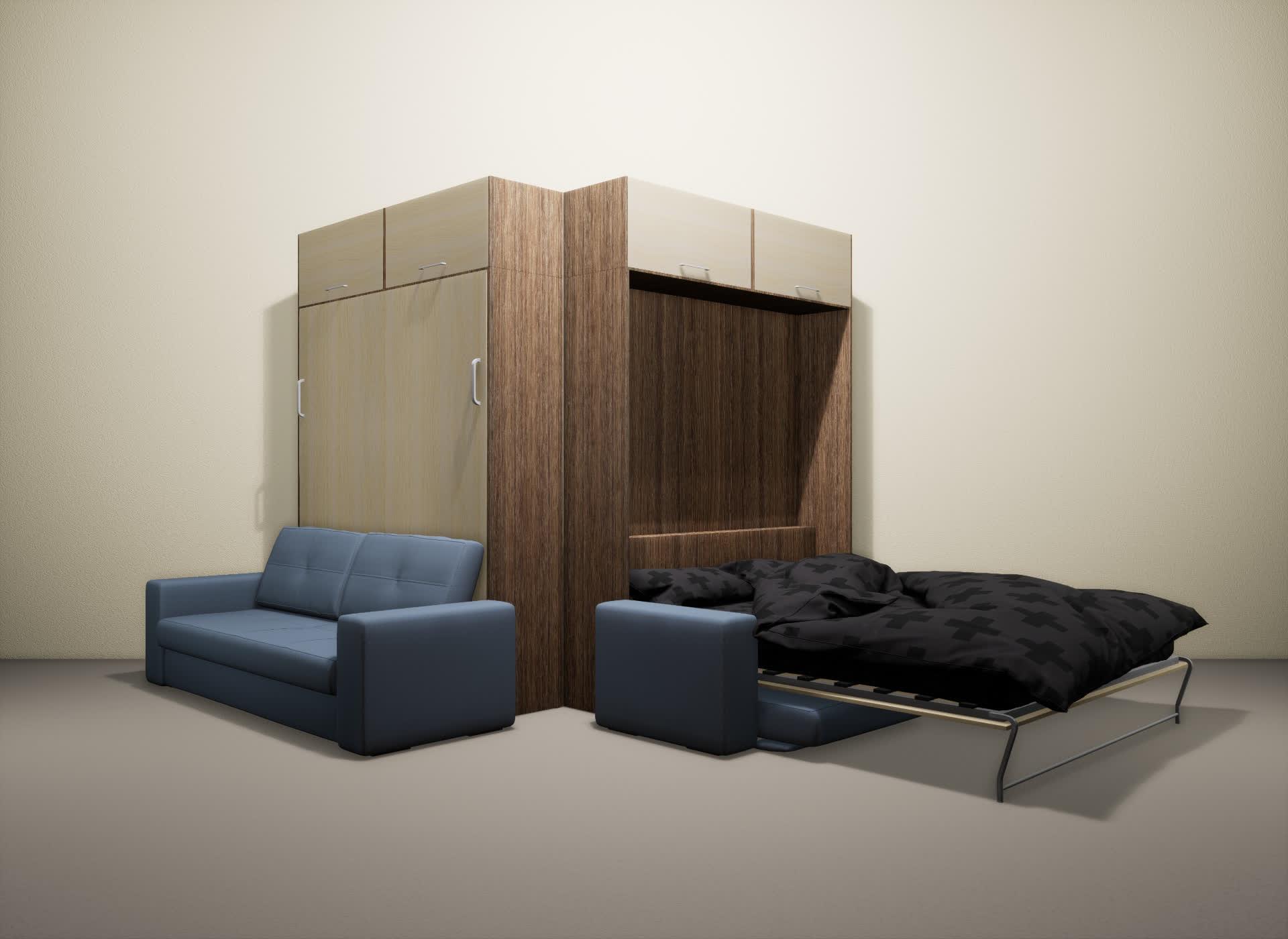 Шкаф-кровать SMART HOME Гамма шамони/молочный дуб