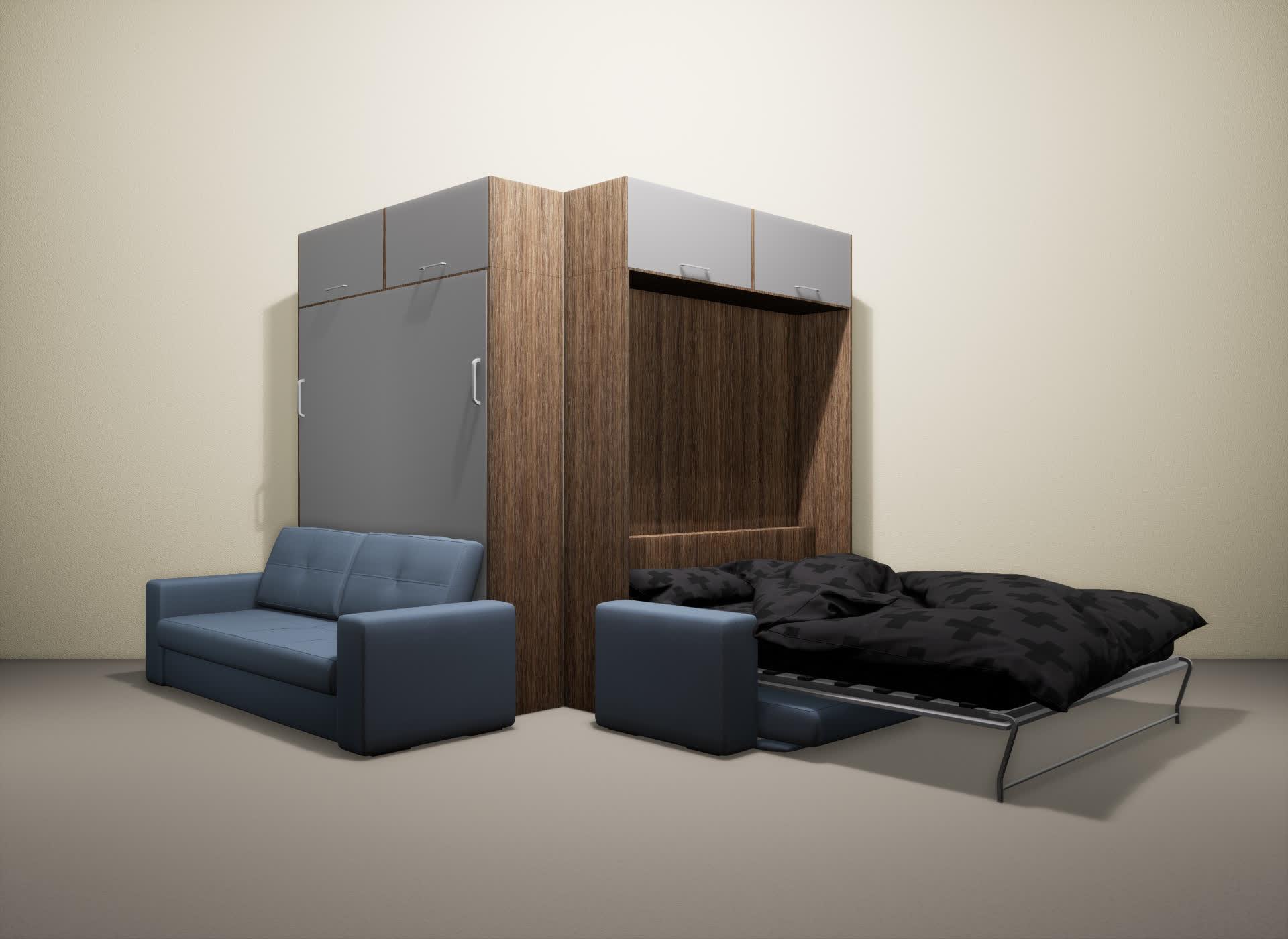 Шкаф-кровать SMART HOME Гамма шамони/серый