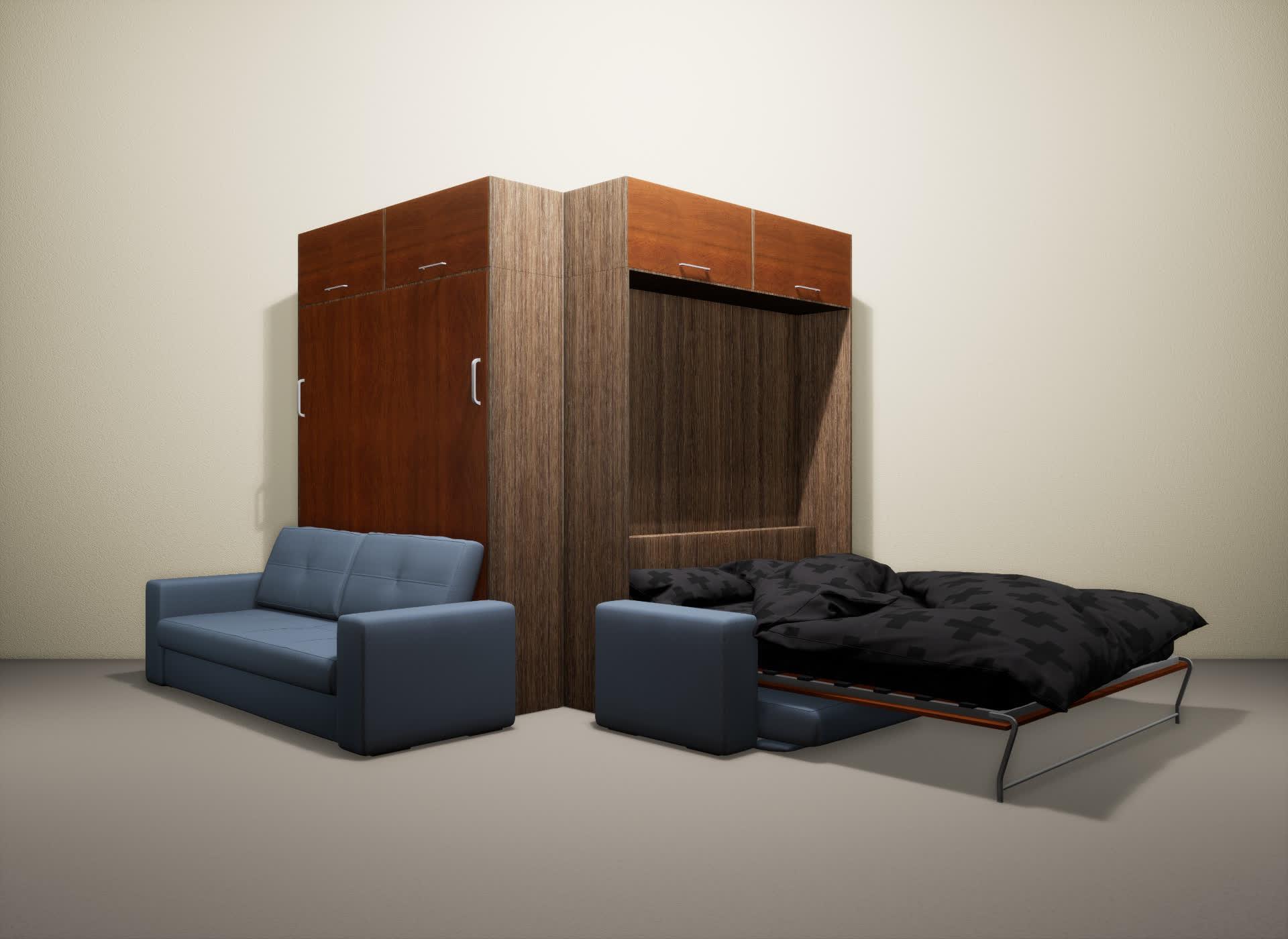 Шкаф-кровать SMART HOME Гамма шамони/яблоня