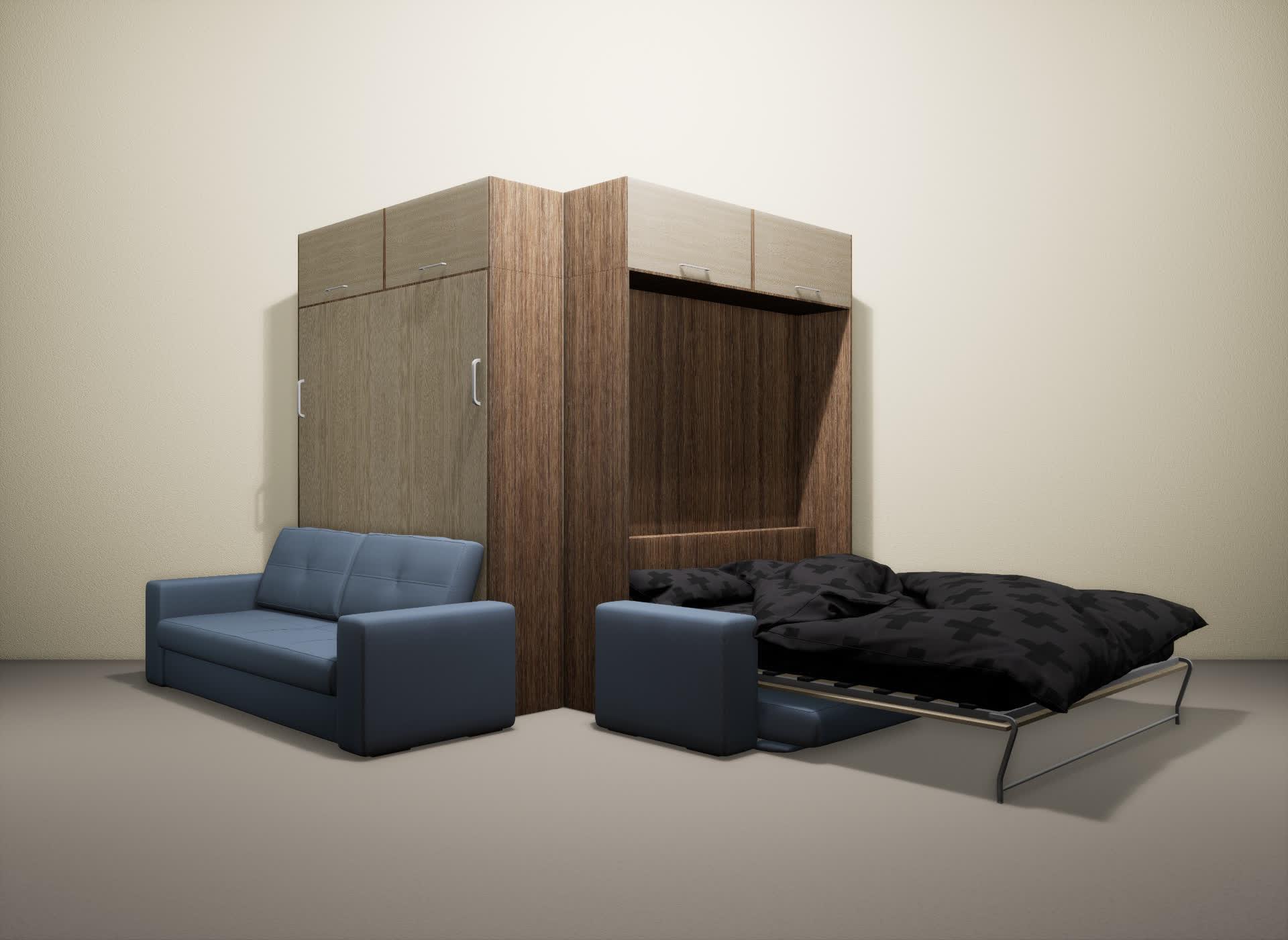 Шкаф-кровать SMART HOME Гамма шамони/ясень