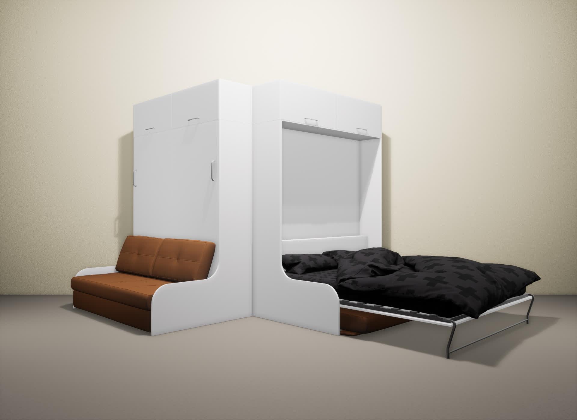 Шкаф-кровать SMART HOME Омега белый/белый