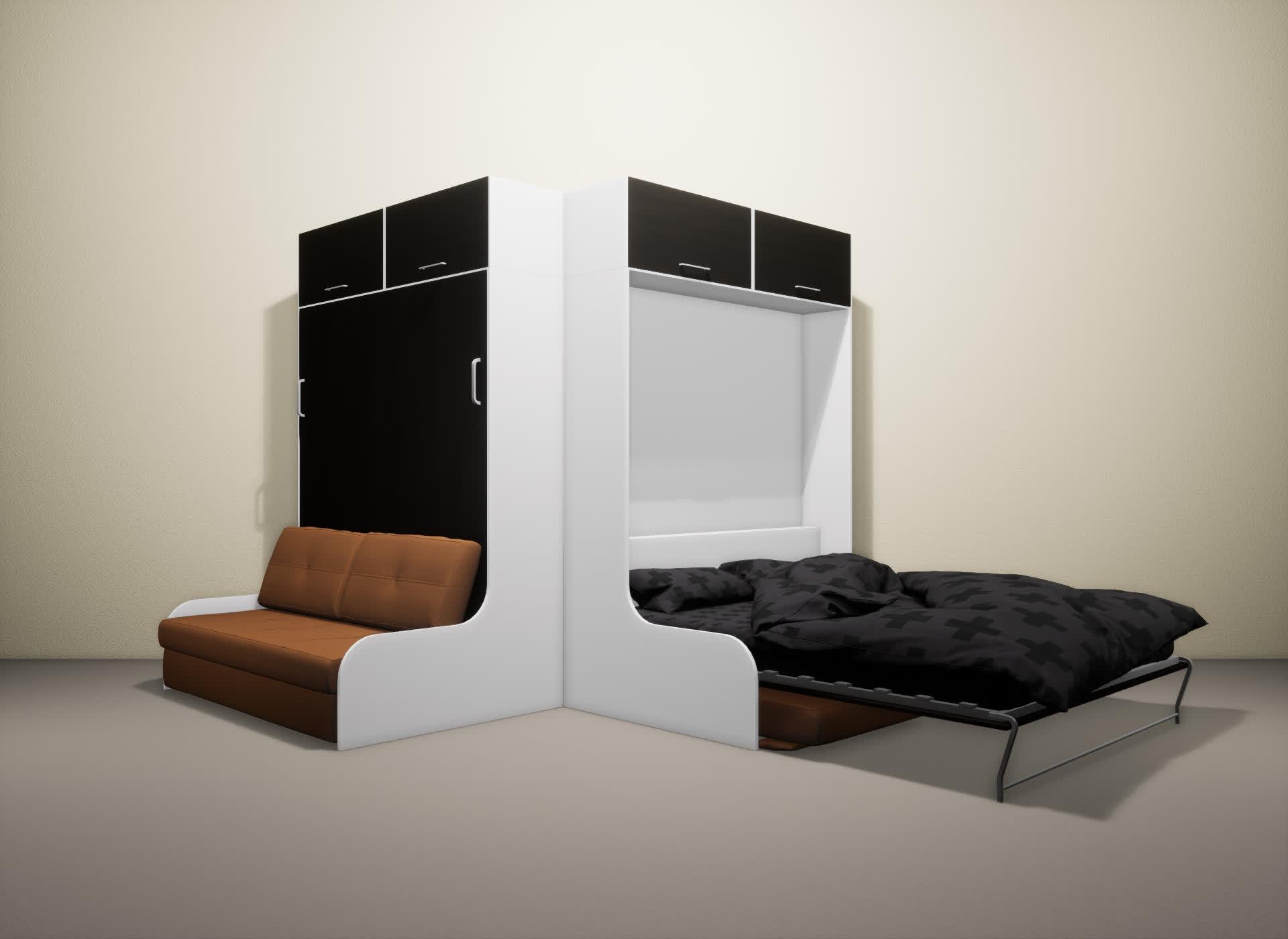 Шкаф-кровать SMART HOME Омега белый/венге