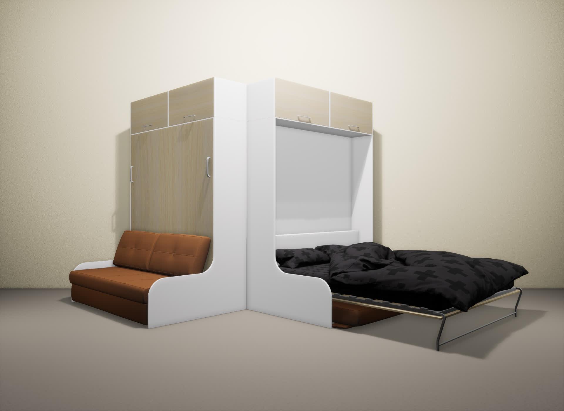 Шкаф-кровать SMART HOME Омега белый/молочный дуб