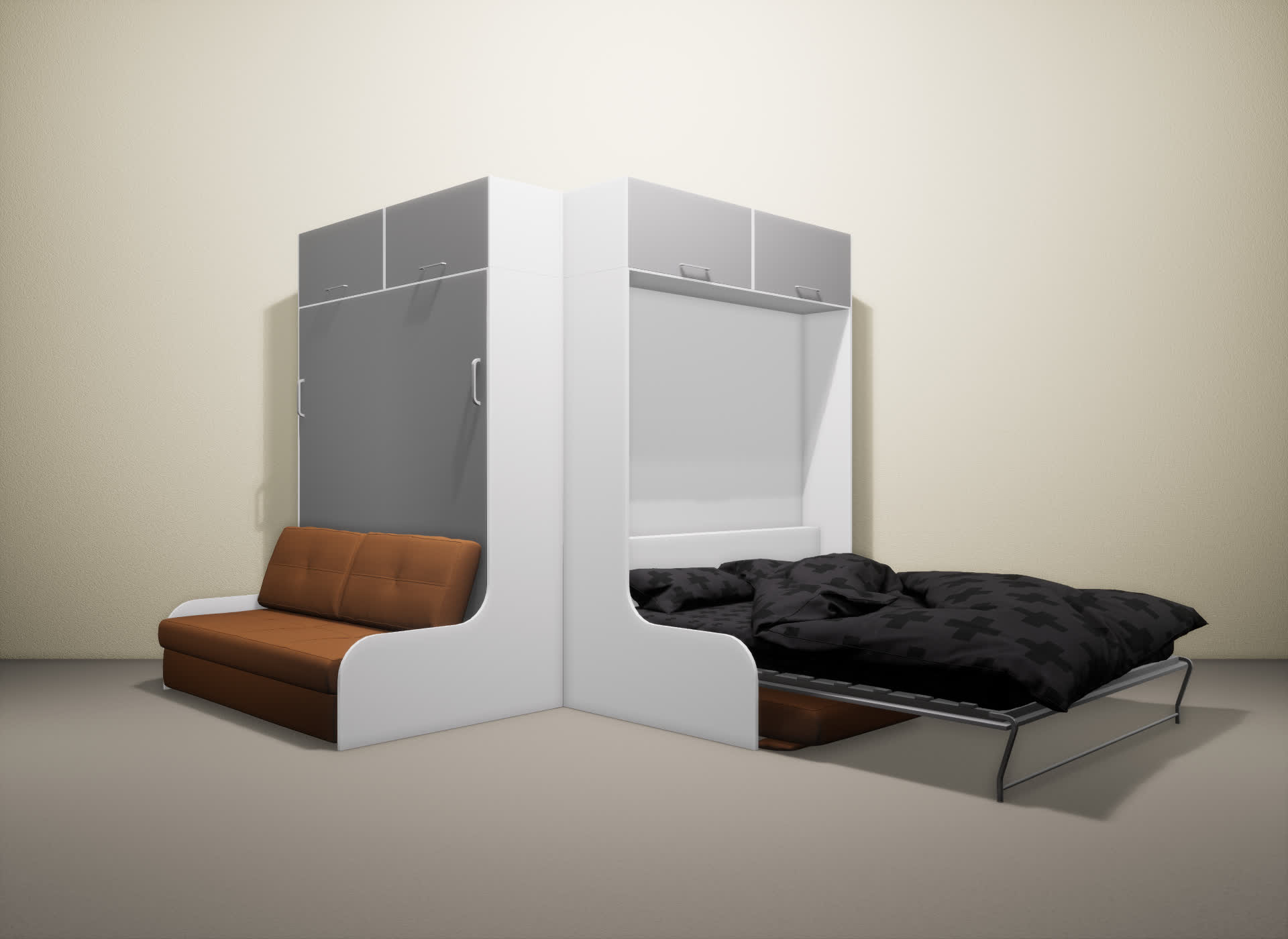 Шкаф-кровать SMART HOME Омега белый/серый