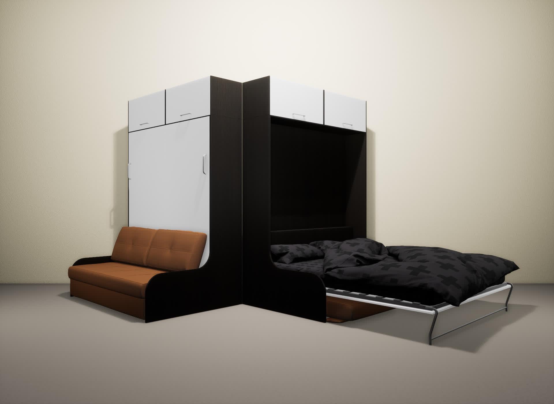 Шкаф-кровать SMART HOME Омега венге/белый