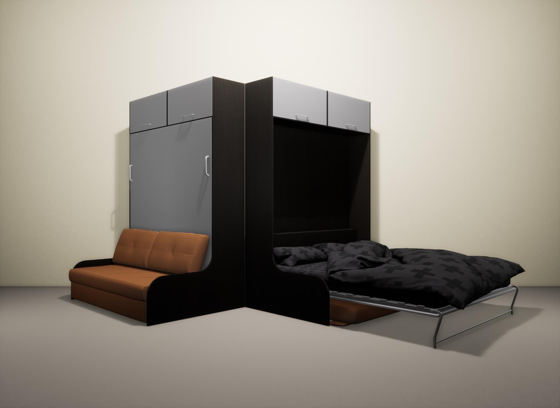 Шкаф-кровать SMART HOME Омега венге/серый