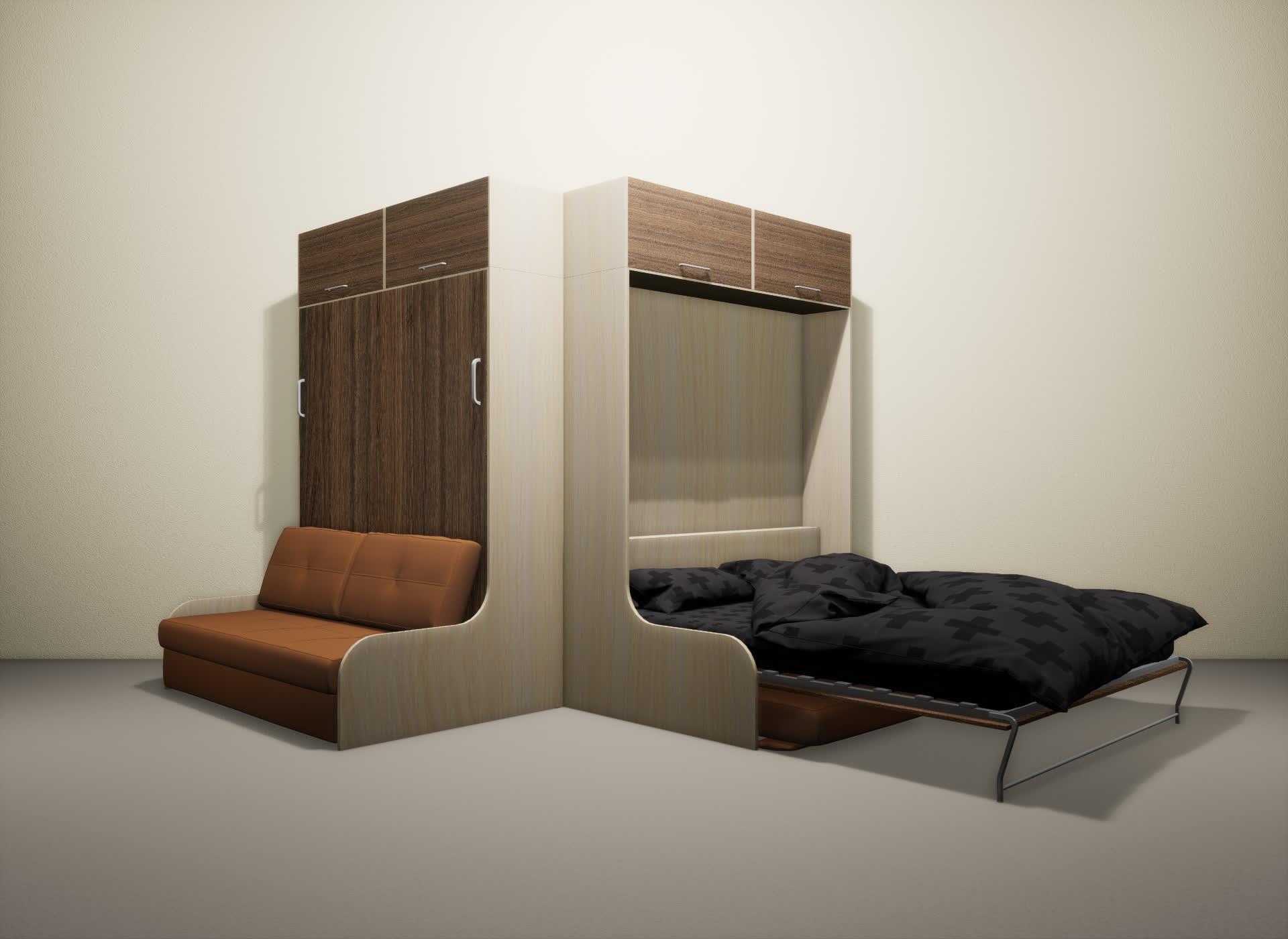 Шкаф-кровать SMART HOME Омега молочный дуб/шамони