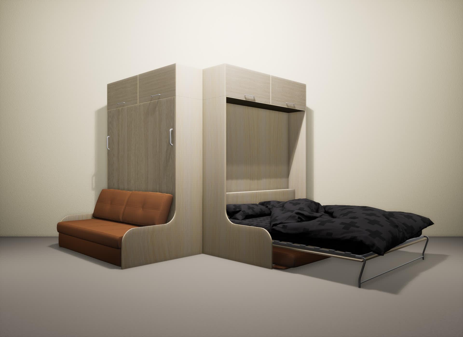 Шкаф-кровать SMART HOME Омега молочный дуб/ясень
