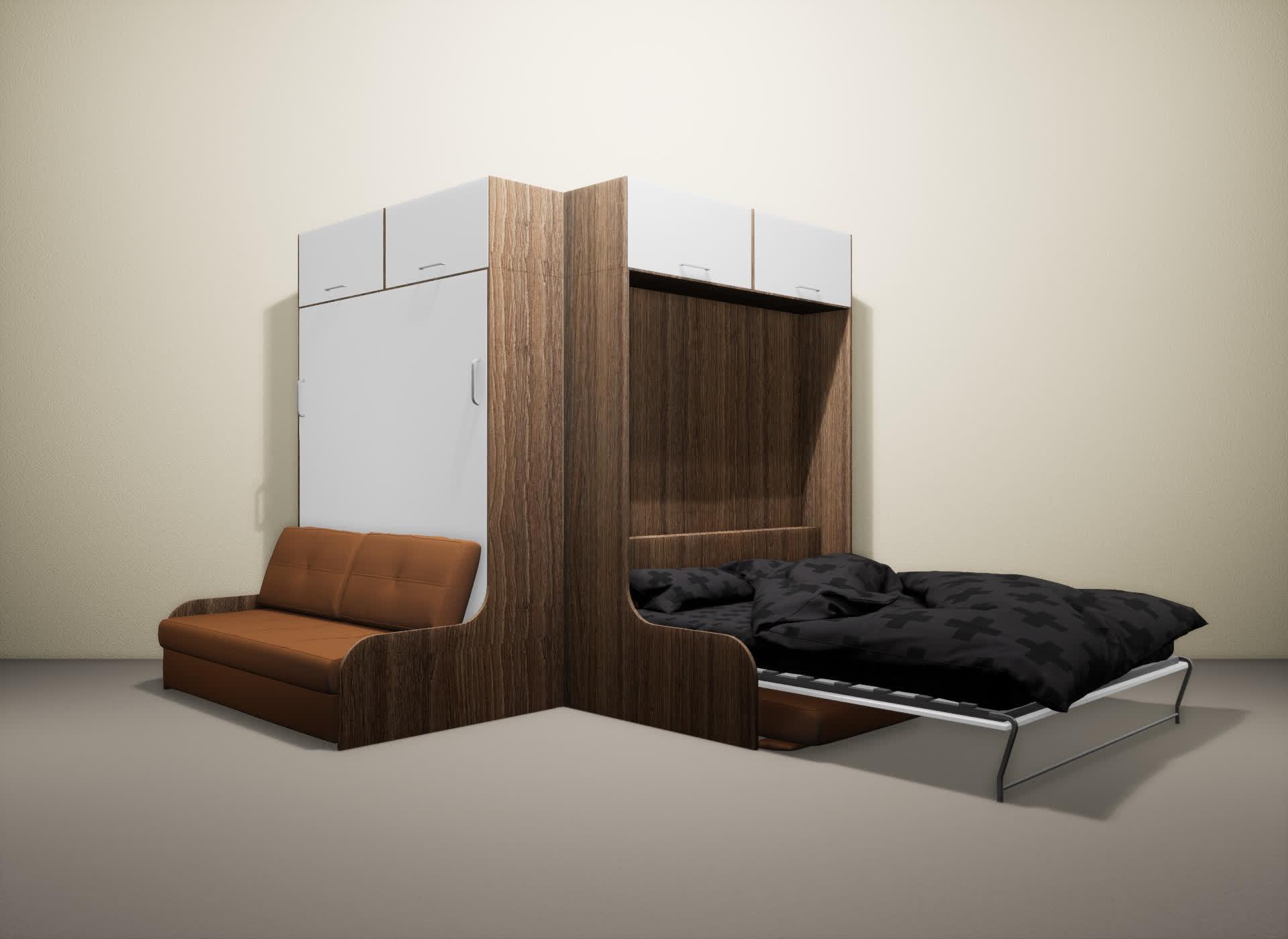 Шкаф-кровать SMART HOME Омега шамони/белый