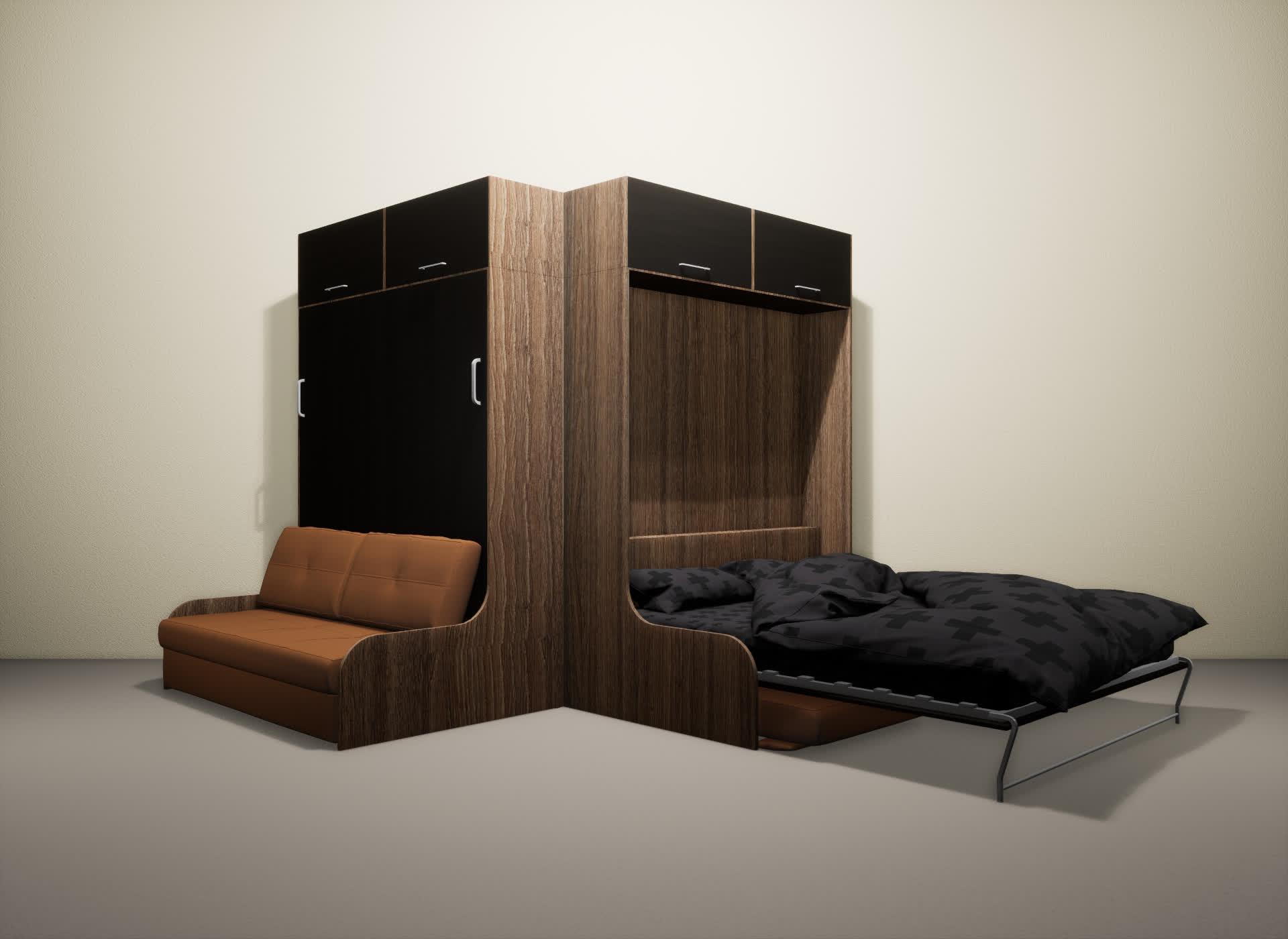 Шкаф-кровать SMART HOME Омега шамони/венге