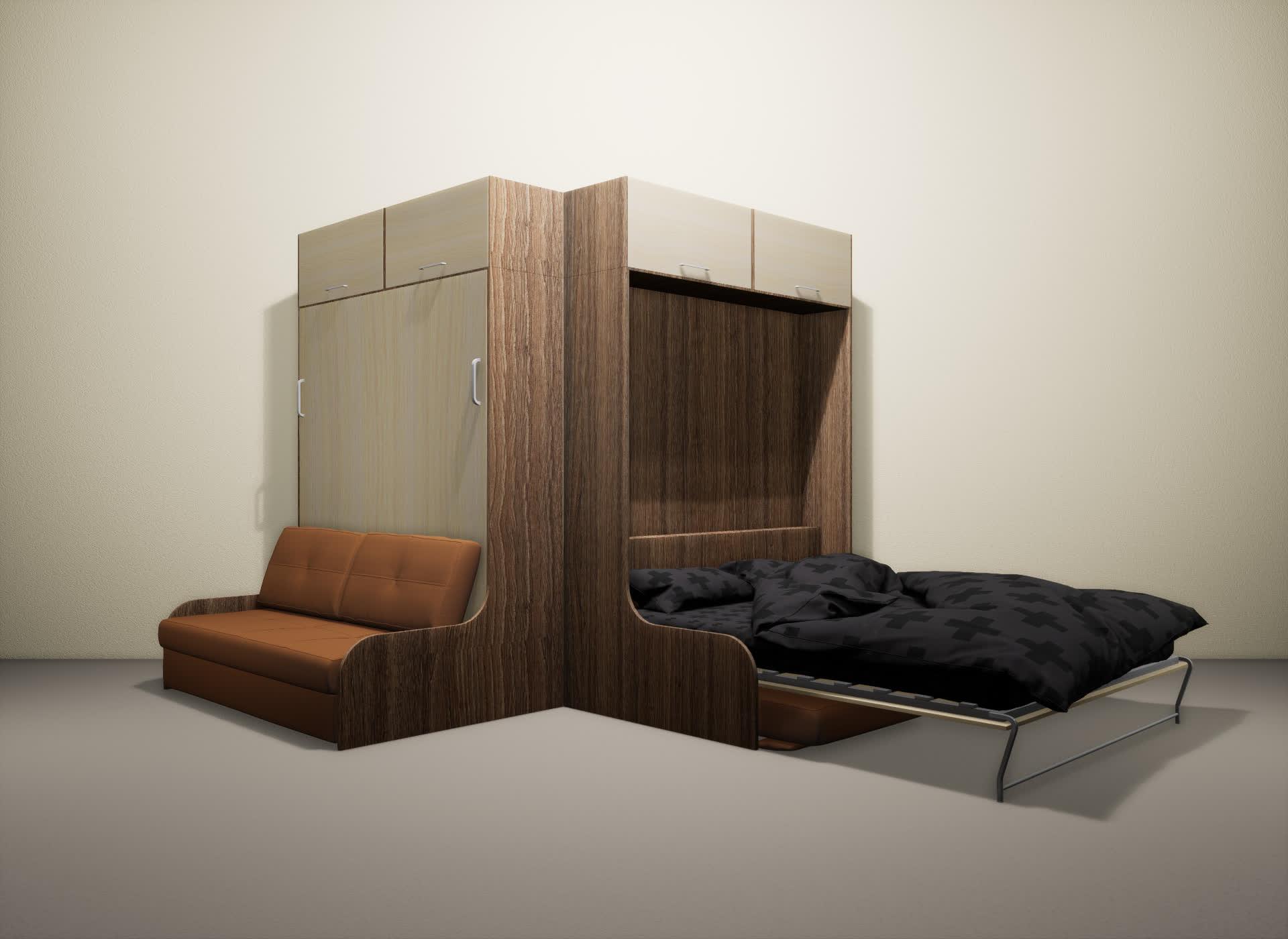 Шкаф-кровать SMART HOME Омега шамони/молочный дуб
