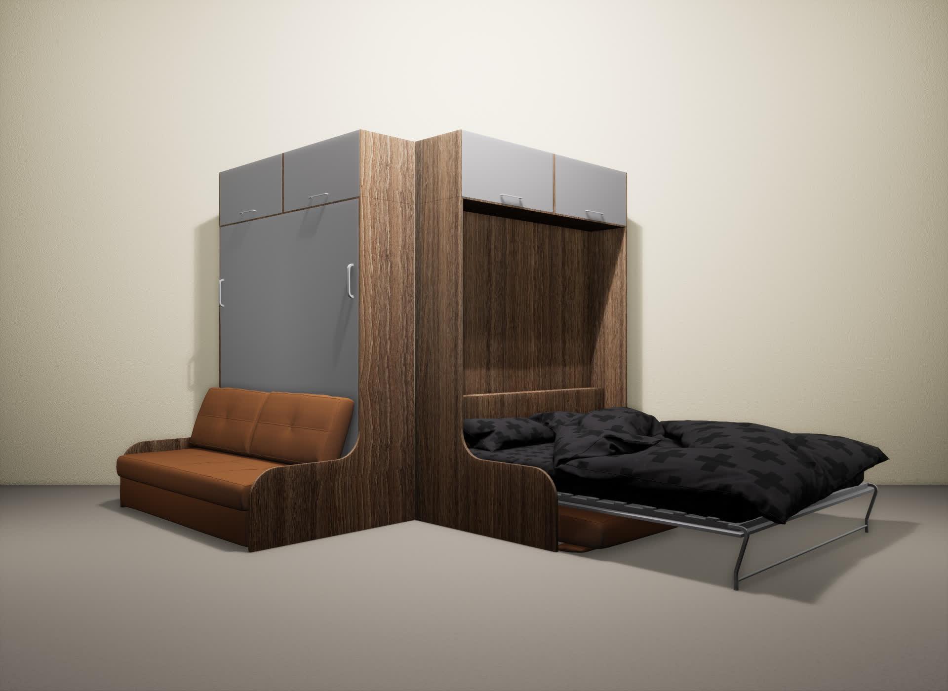 Шкаф-кровать SMART HOME Омега шамони/серый