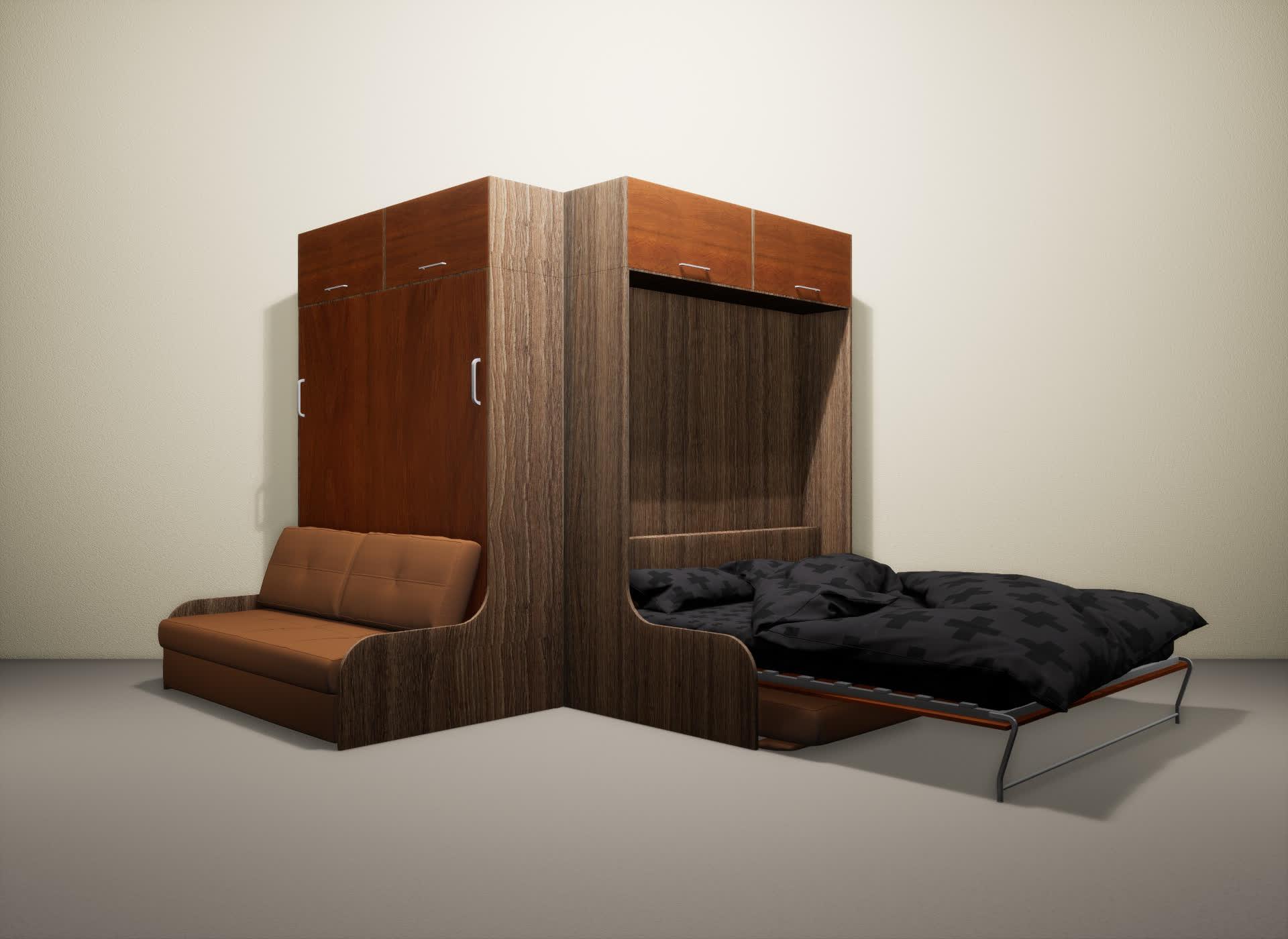 Шкаф-кровать SMART HOME Омега шамони/яблоня