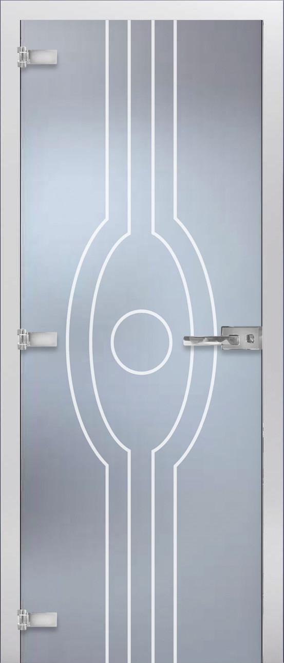 """Межкомнатная стеклянная дверь MAYBAH матовое Бесцветное с рисунком """"mg-22"""""""