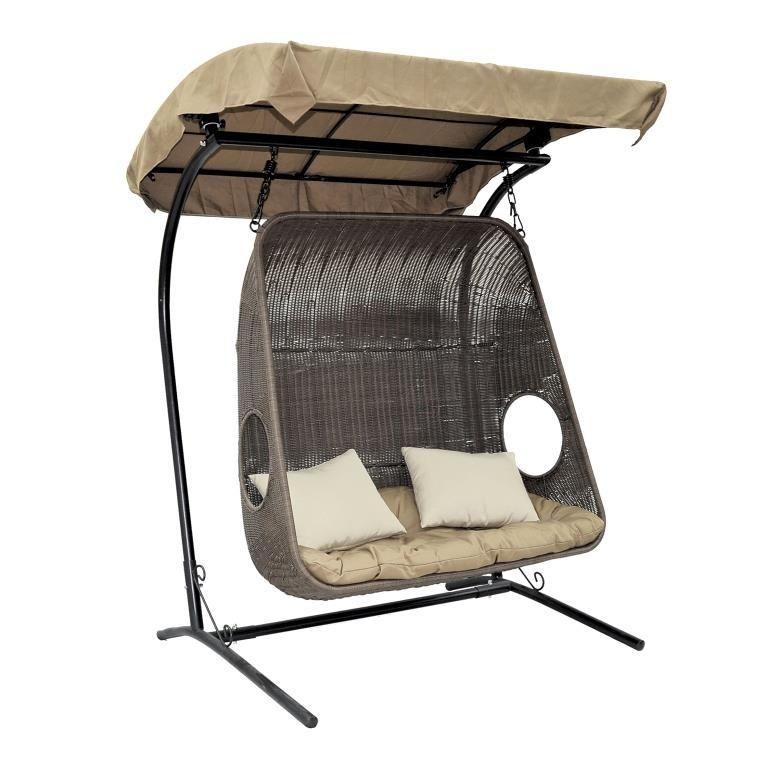 Подвесное кресло для двоих из ротанга ЭкоДизайн Canopy