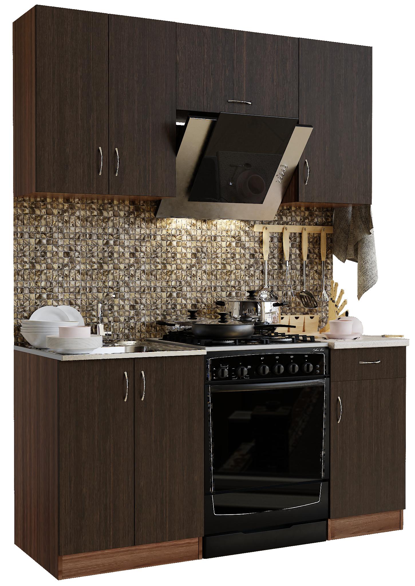Кухонный гарнитур Sanvut ГК1600 - 2.3.2 Ясень шимо темный / Венге