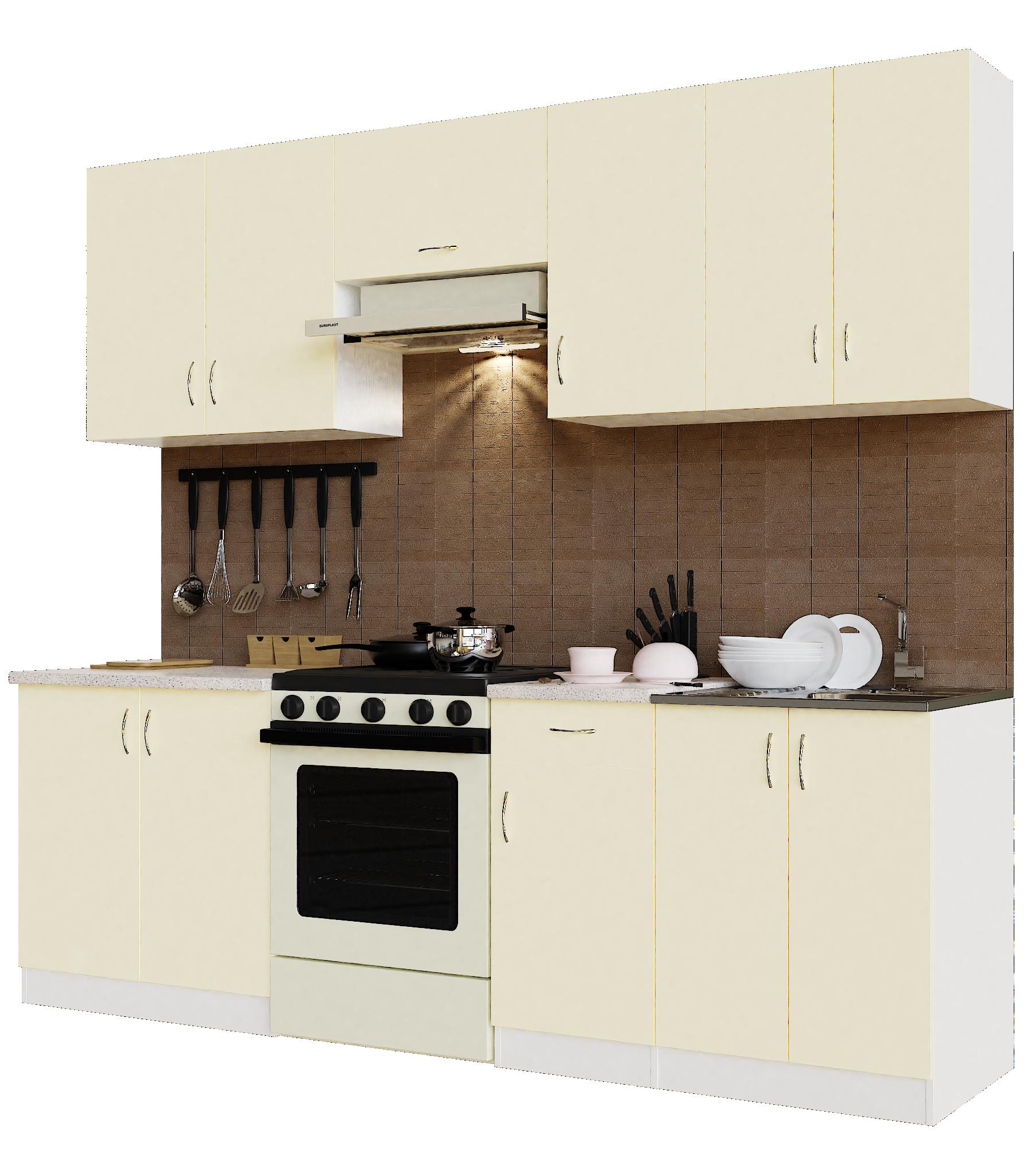 Кухонный гарнитур Sanvut ГК2400-5.6.2 Белый / Крем (гренобль)
