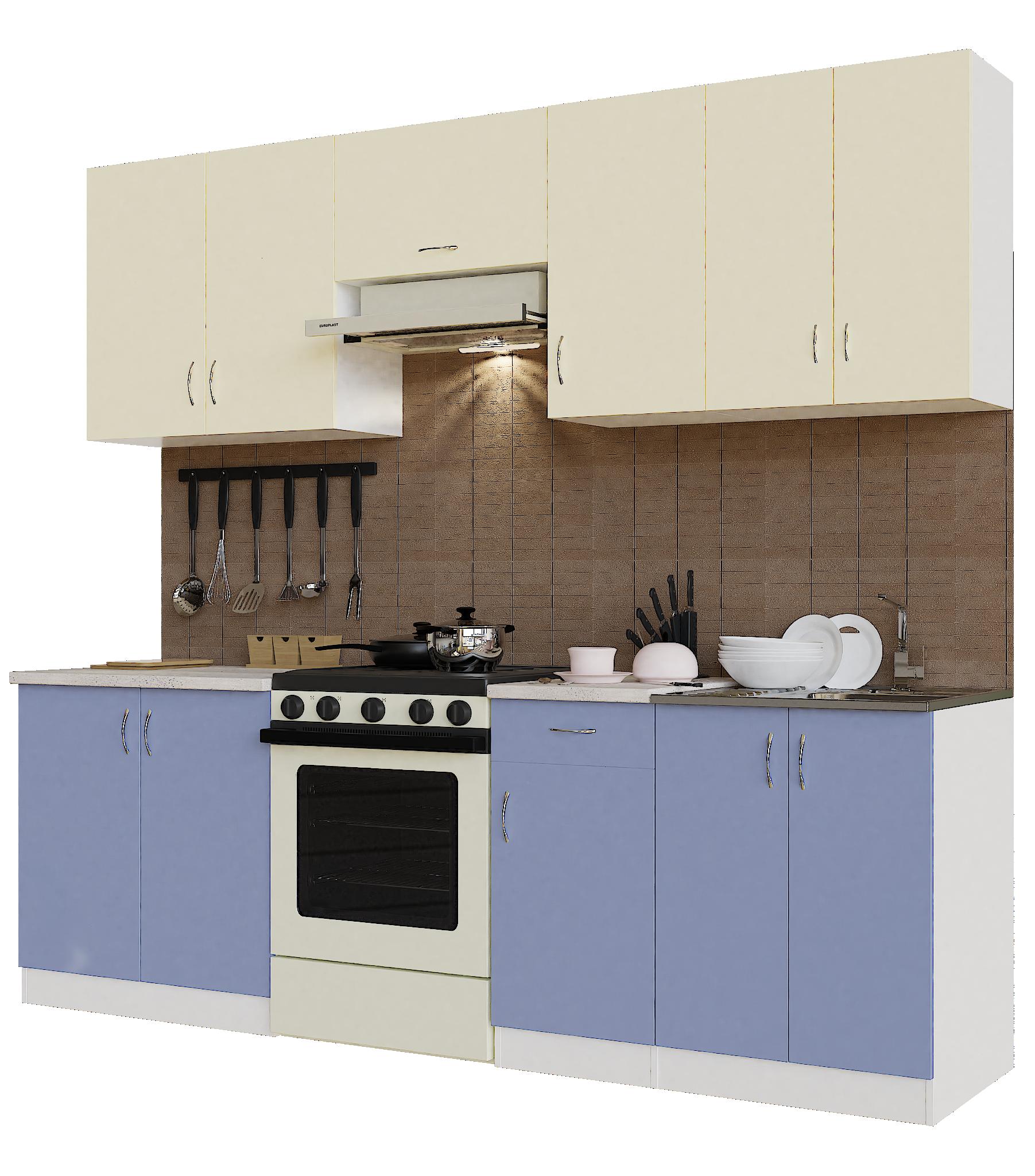 Кухонный гарнитур Sanvut ГК2400-5.6_9.2 Белый / Крем / Лаванда (гренобль)