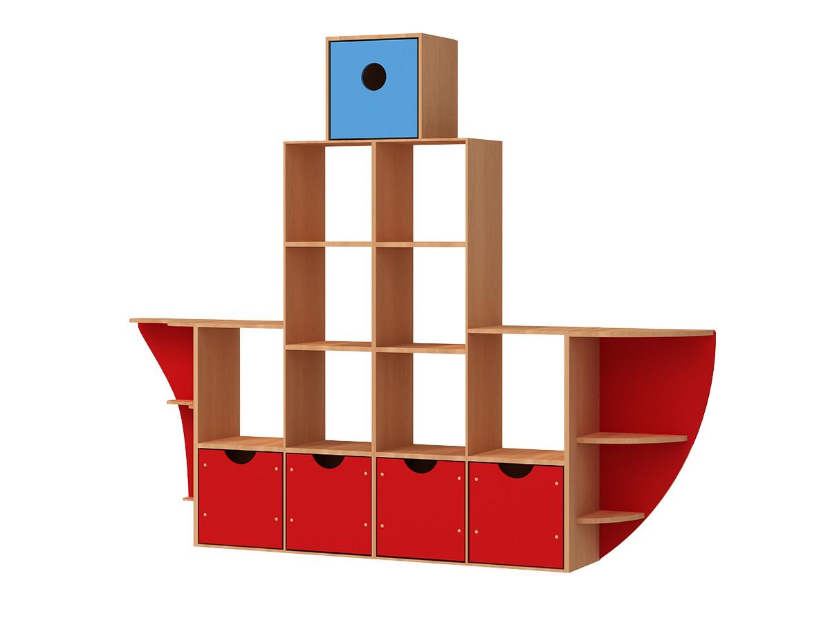 """Стеллаж для игрушек РОССНАБСБЫТ """"Кораблик"""" цвет."""