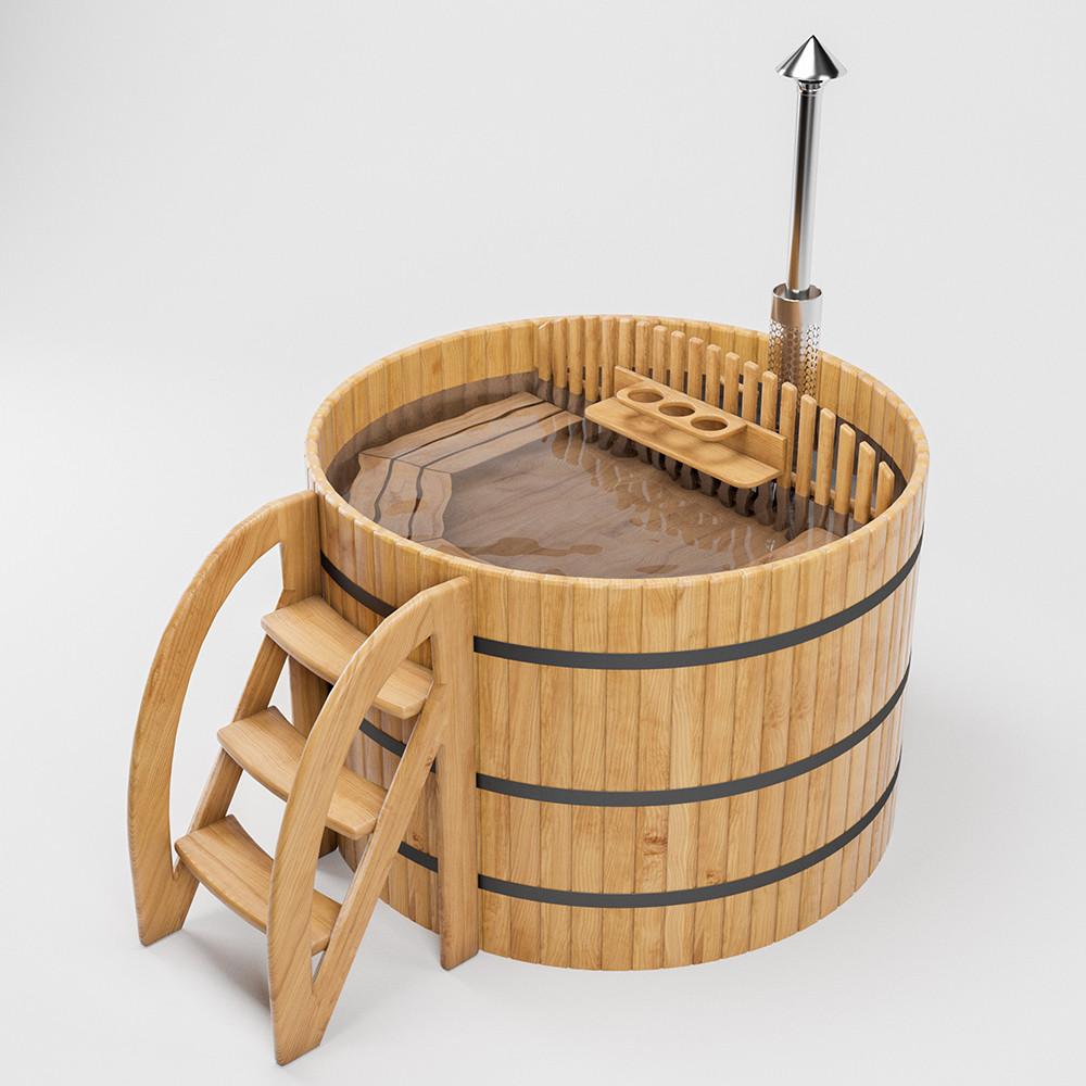 Бочка Фурако FitoNext из кедра с встроенной дровяной печью круглая 1300мм