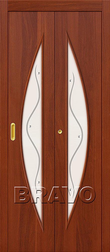 Складная дверь книжка Bravo 5Ф Л-11 Итальянский орех (комплект)