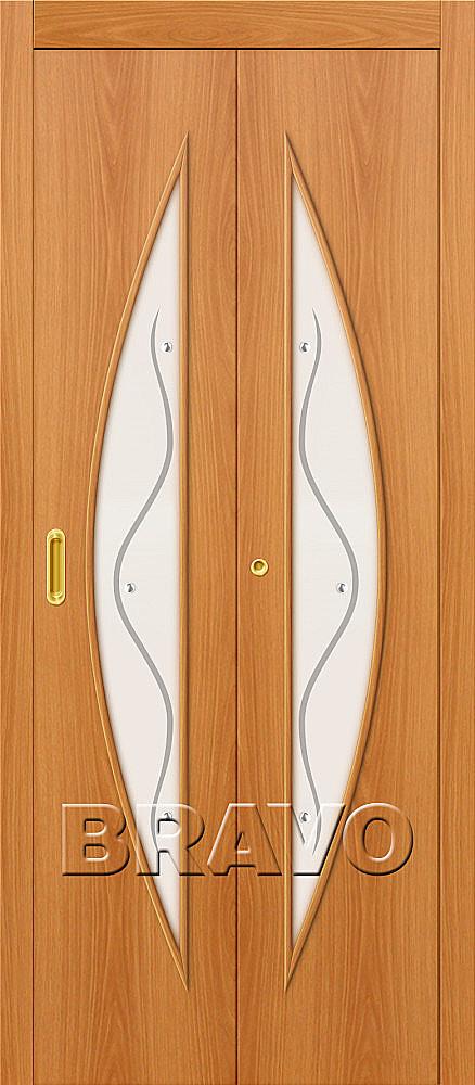 Складная дверь книжка Bravo 5Ф Л-12 Миланский орех (комплект)