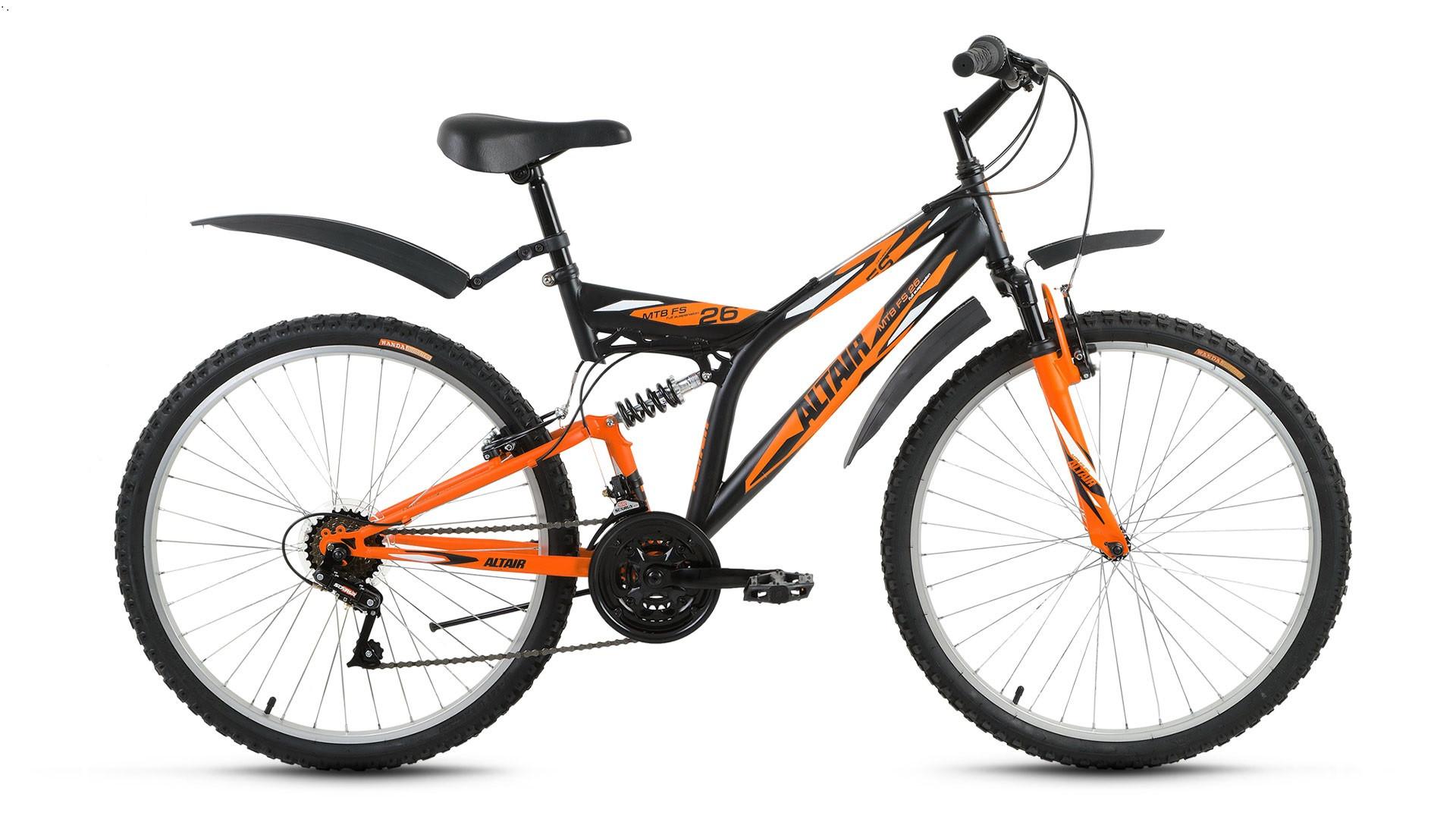 """Двухподвесный велосипед Altair MTB FS 2017 рама 18"""" черный/оранжевый"""