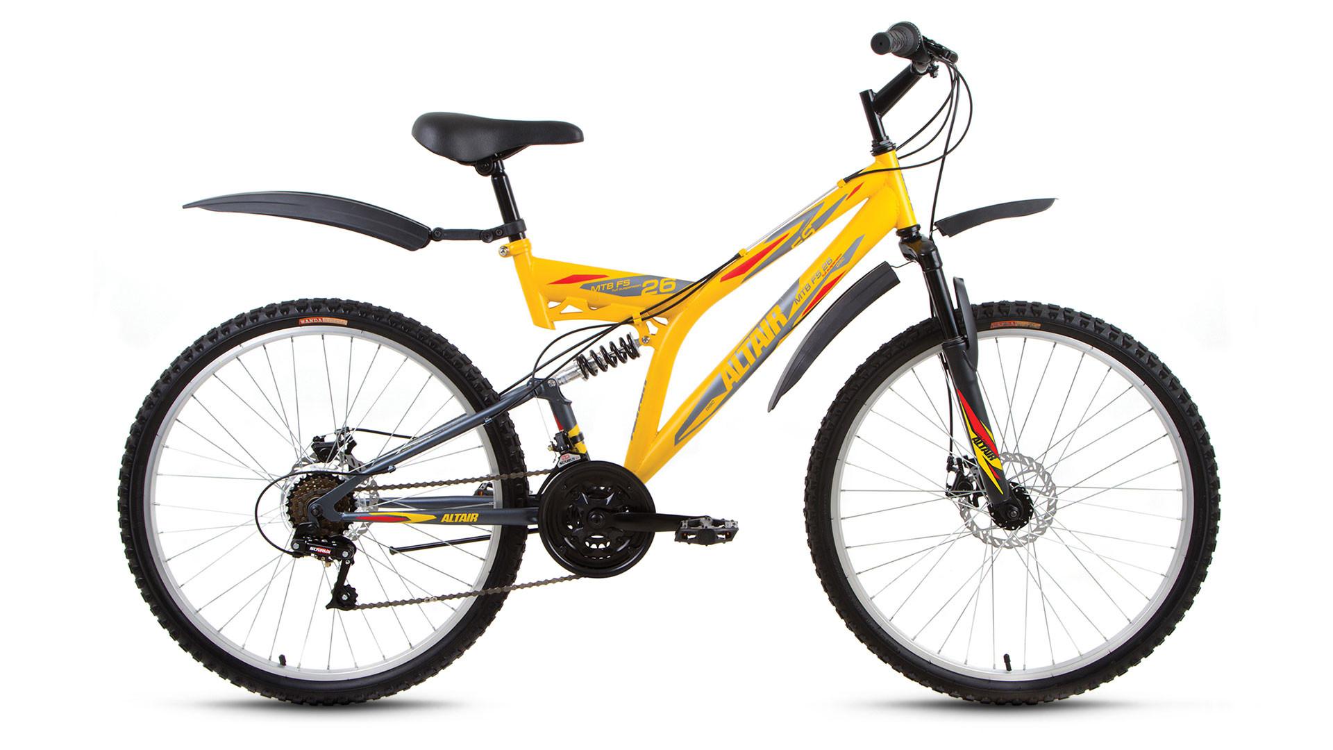 """Двухподвесный велосипед Altair MTB FS Disc 2017 рама 16"""" желтый/серый"""