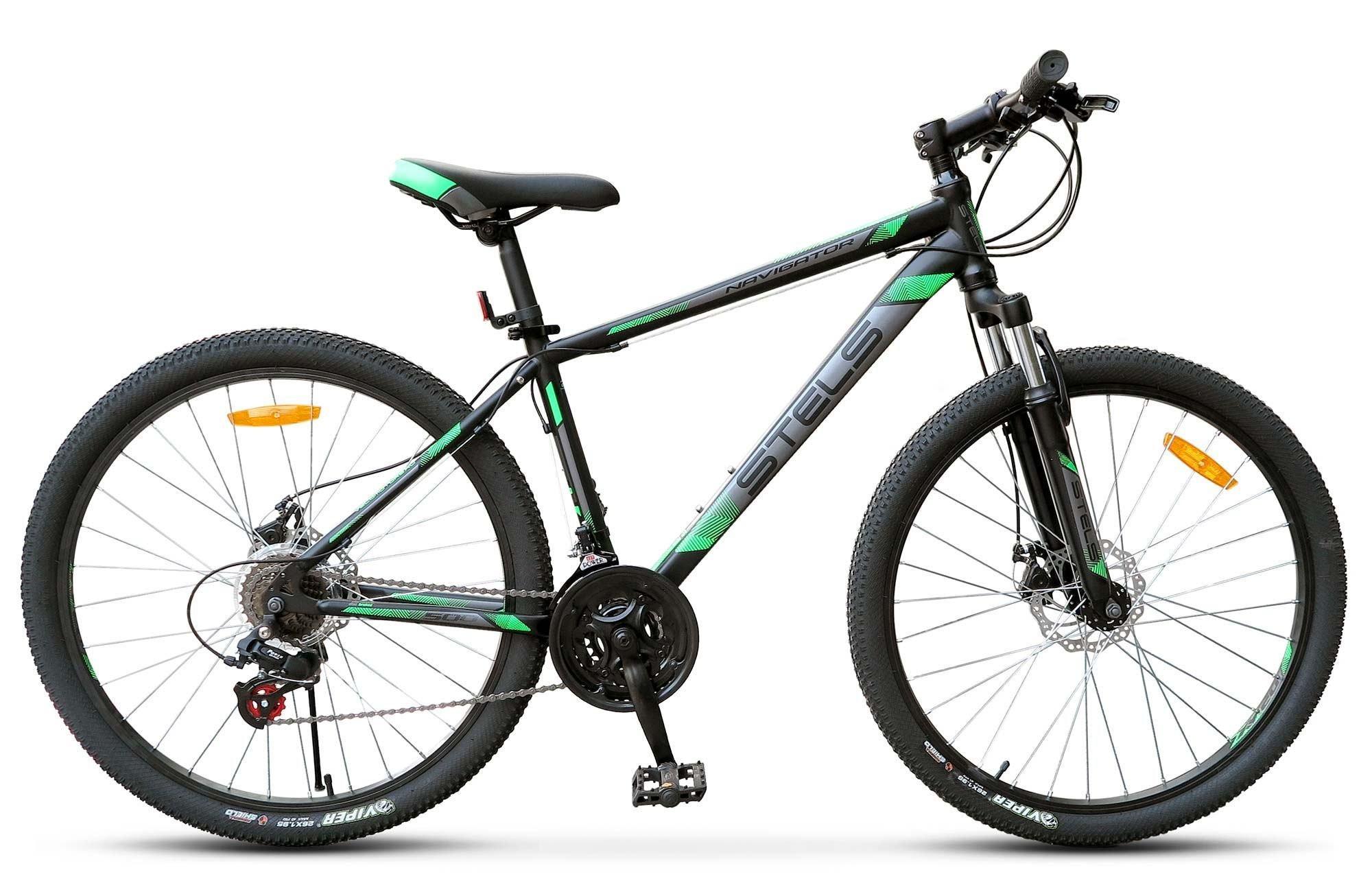 "Горный велосипед Stels Navigator-500MD 2017 V020 рама 16"" черный/зеленый"