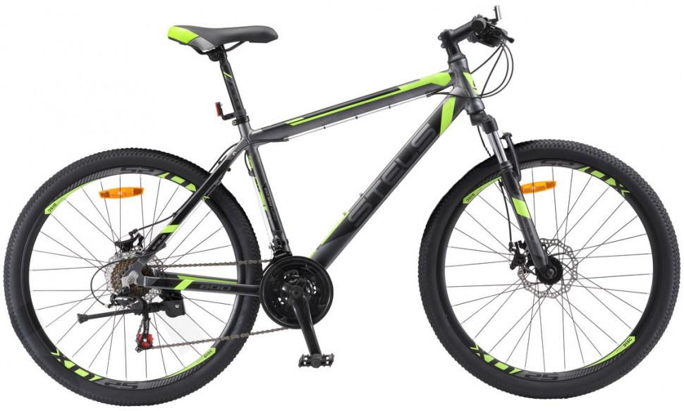 "Горный велосипед Stels Navigator-600MD 2017 V020 рама 16"" антрацитовый/лайм"