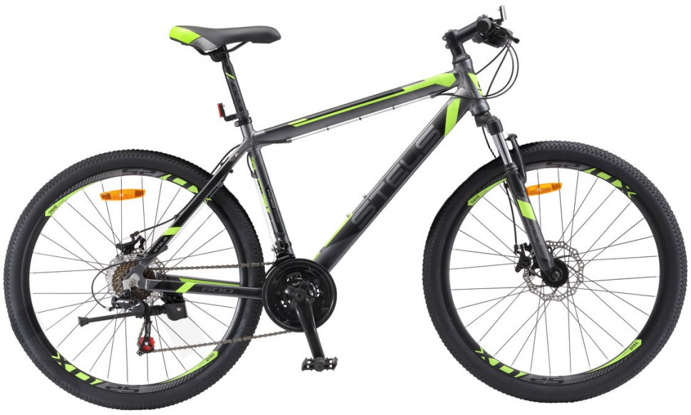 "Горный велосипед Stels Navigator-600MD 2017 V020 рама 20"" антрацитовый/лайм"