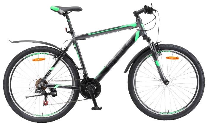 """Горный велосипед Stels Navigator-600V 2017 V020 рама 18"""" антрацитовый/зеленый"""