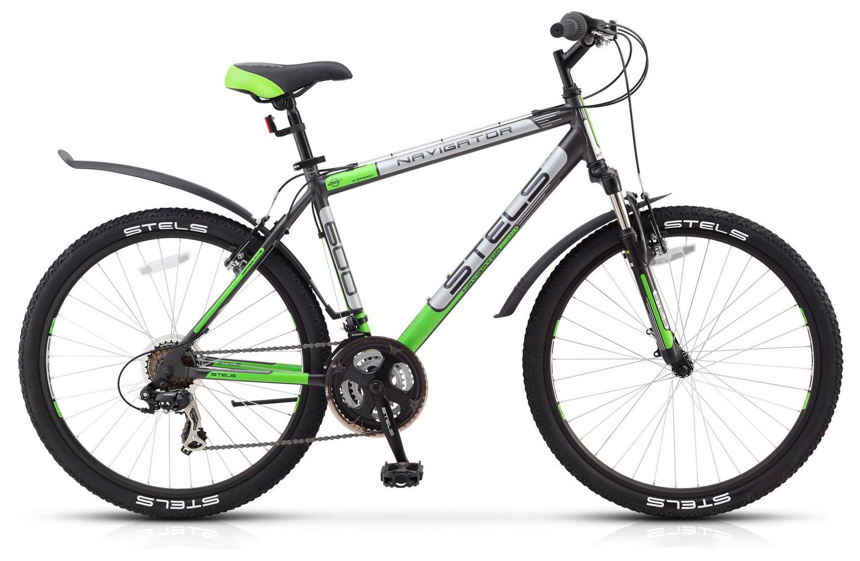 "Горный велосипед Stels Navigator-600V 2017 V030 рама 16"" черный/зеленый"